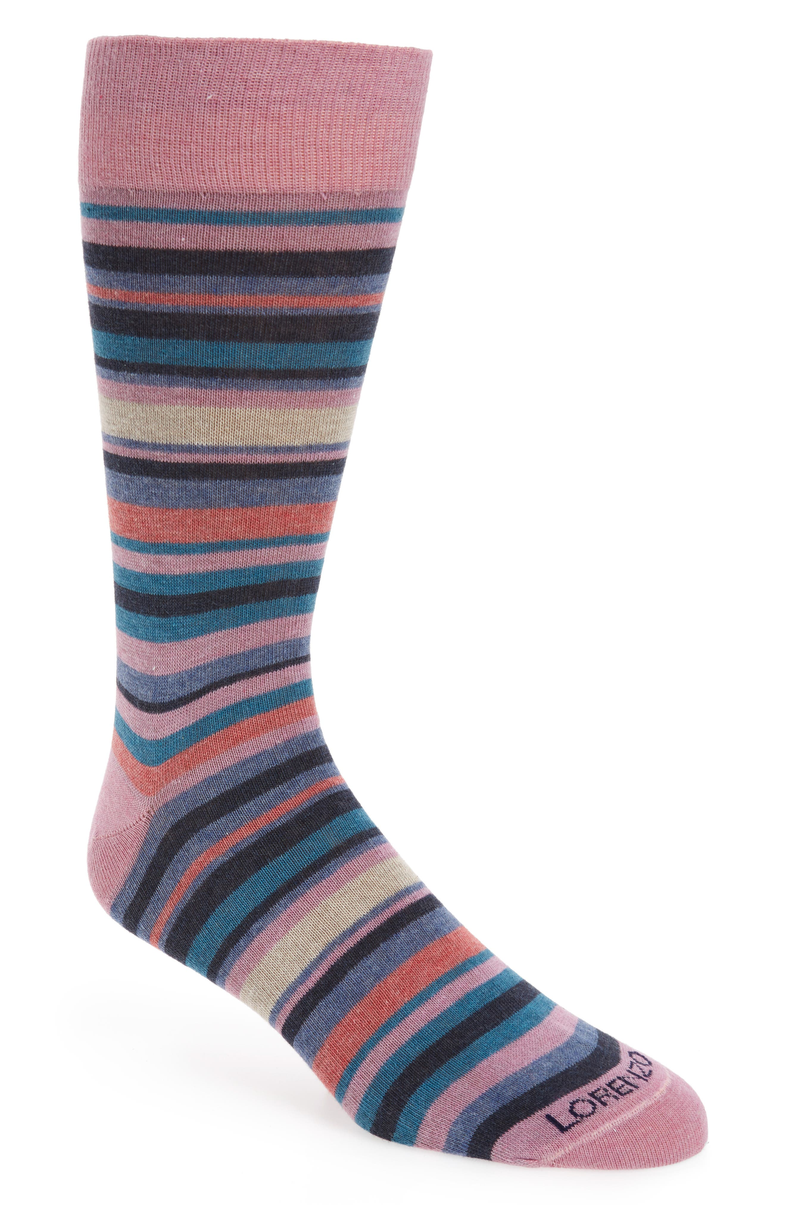 Lorenzo Uomo Stripe Cotton Blend Socks