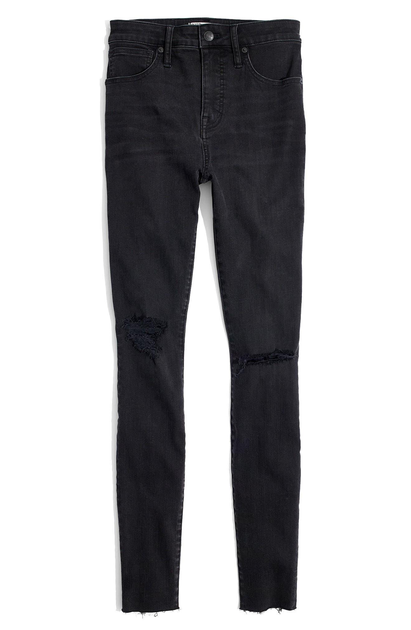 Curvy High Waist Skinny Jeans,                             Alternate thumbnail 6, color,                             Black Sea
