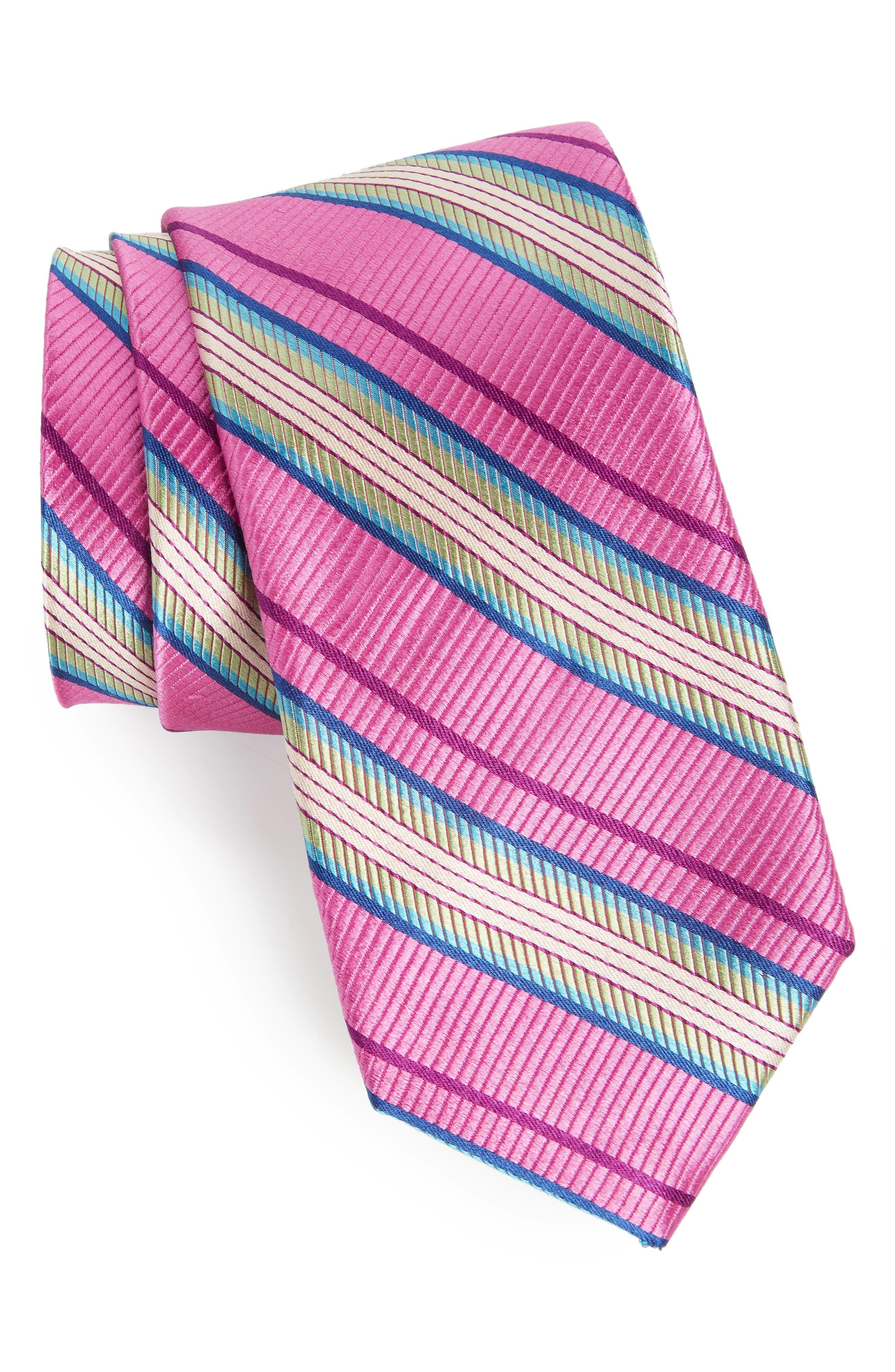 Soho Stripe Silk Tie,                             Main thumbnail 1, color,                             Pink