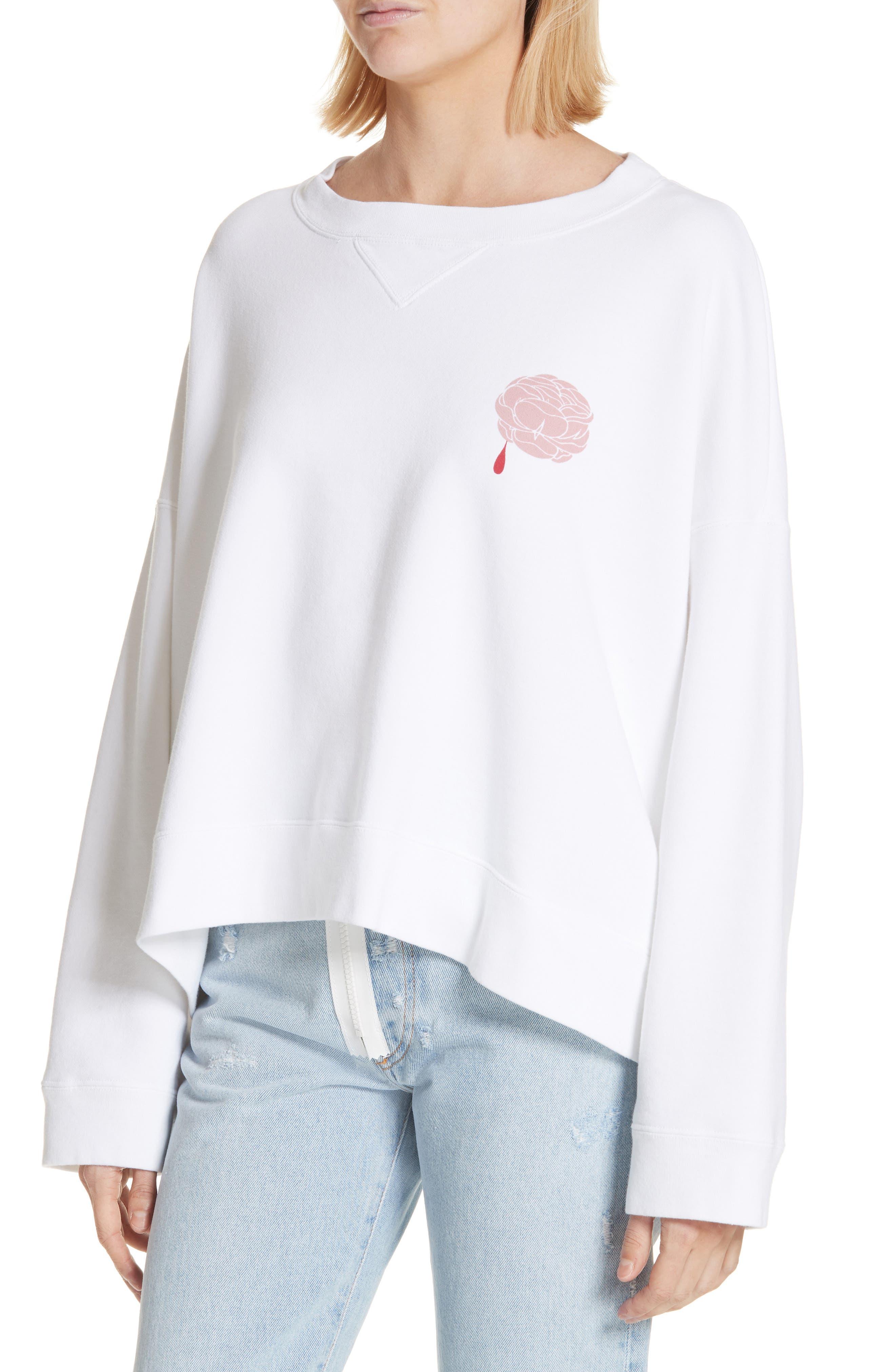 Print Rose Sweatshirt,                             Alternate thumbnail 4, color,                             White