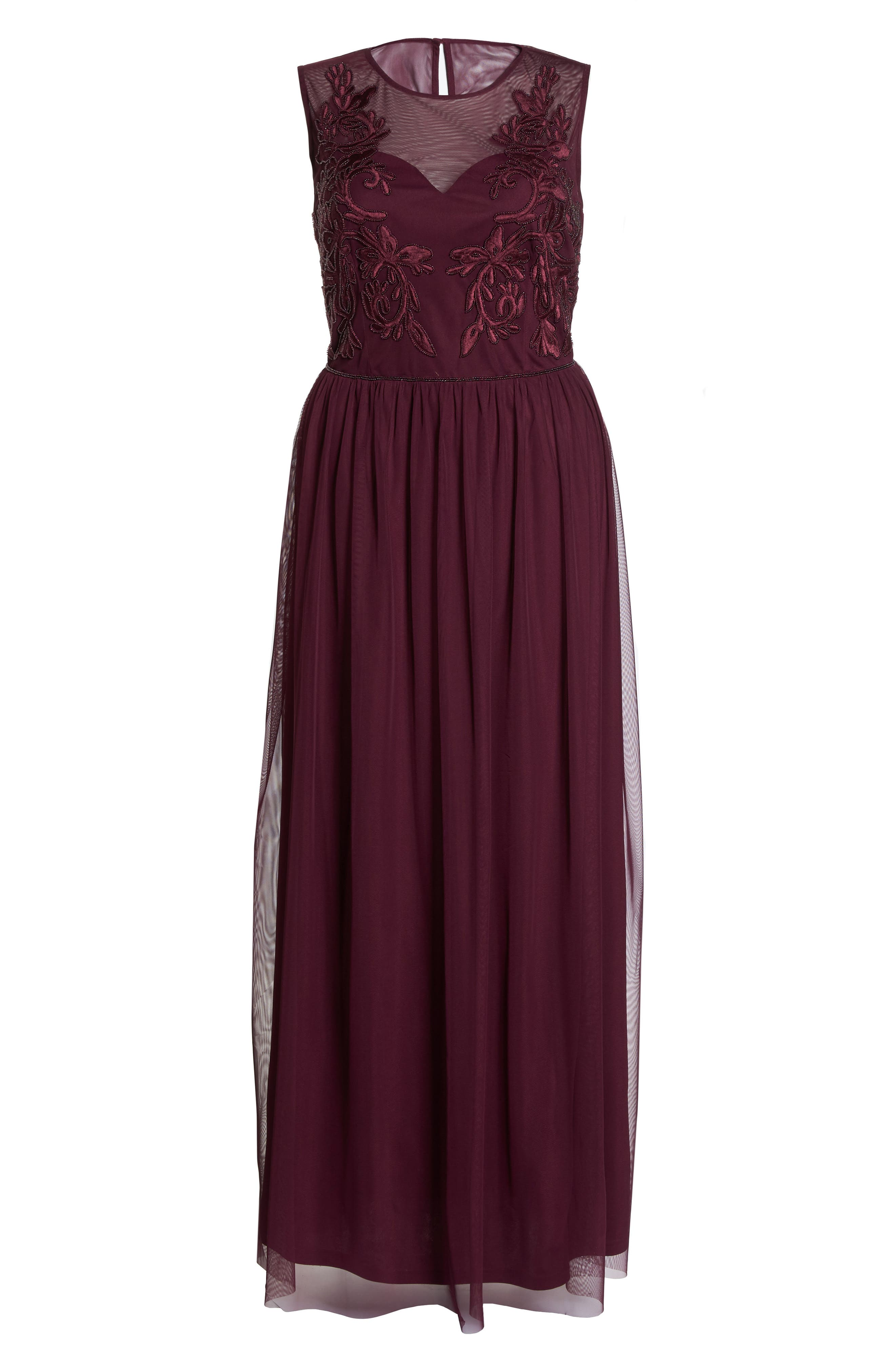 Beaded Gown,                             Alternate thumbnail 6, color,                             Cabernet