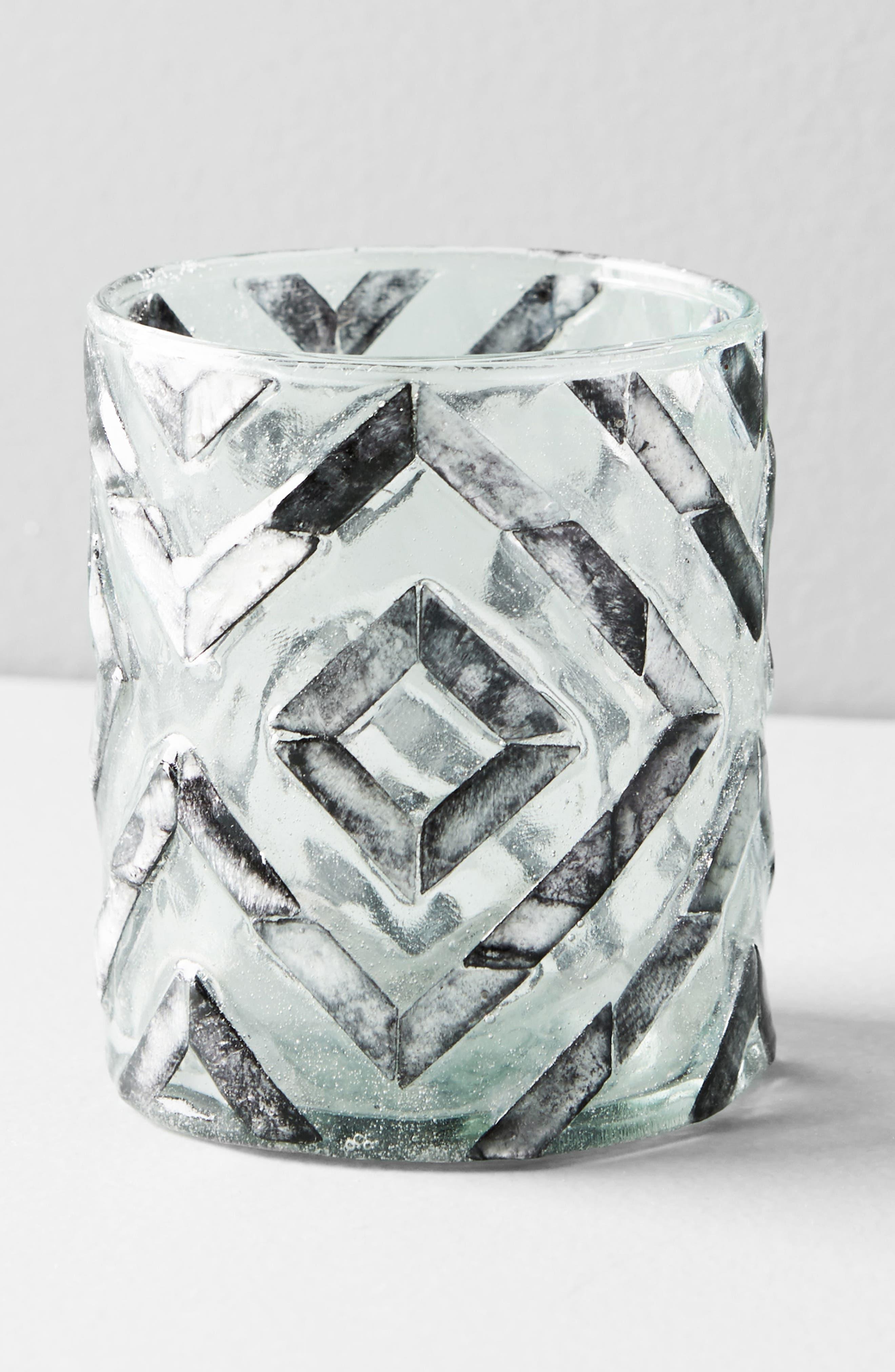 Herringbone Capiz Votive Candleholder,                             Alternate thumbnail 4, color,                             Dark Grey