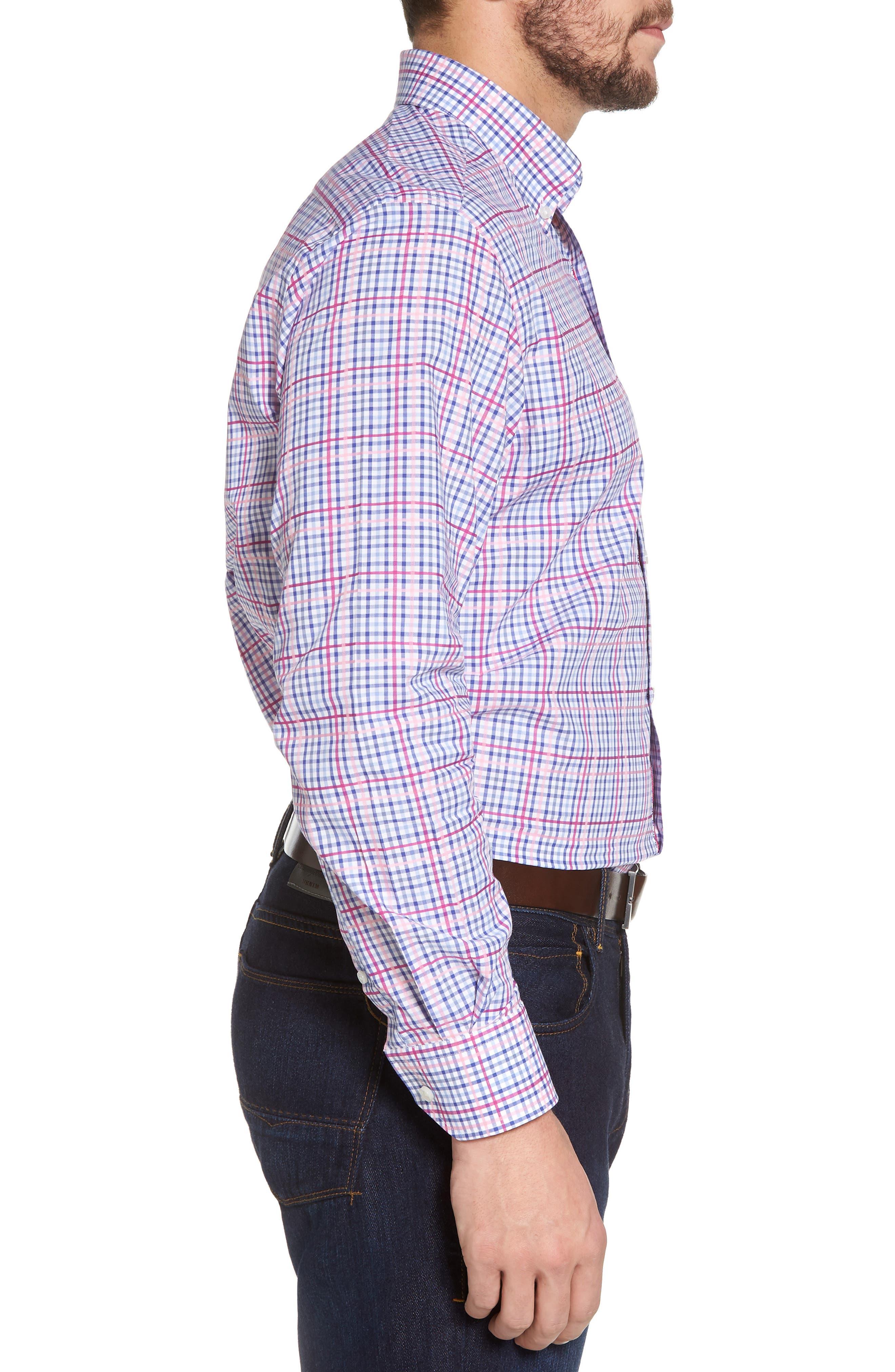 Aidren Regular Fit Plaid Sport Shirt,                             Alternate thumbnail 4, color,                             Pink