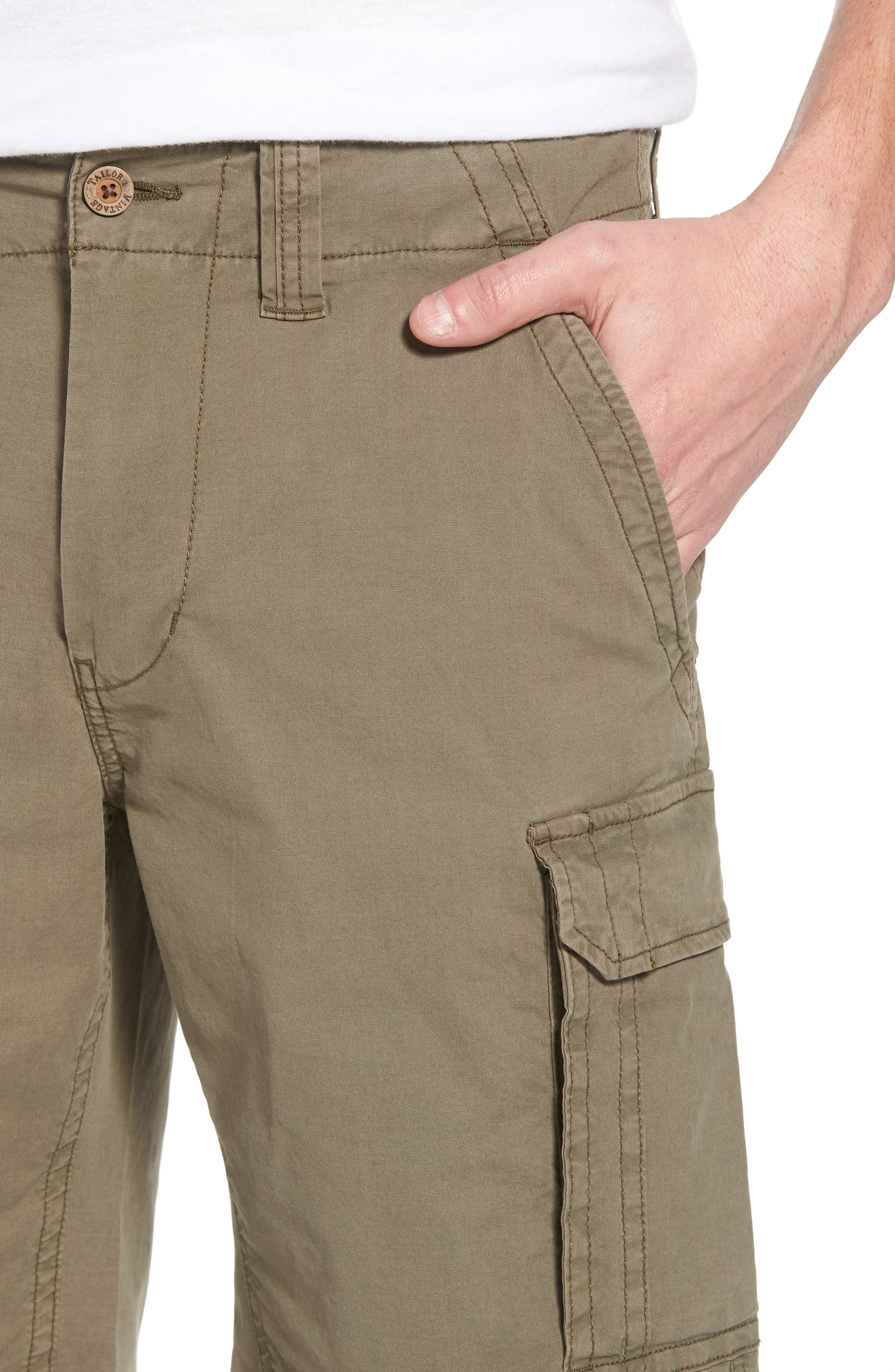 Stretch Canvas Cargo Shorts,                             Alternate thumbnail 4, color,                             Army
