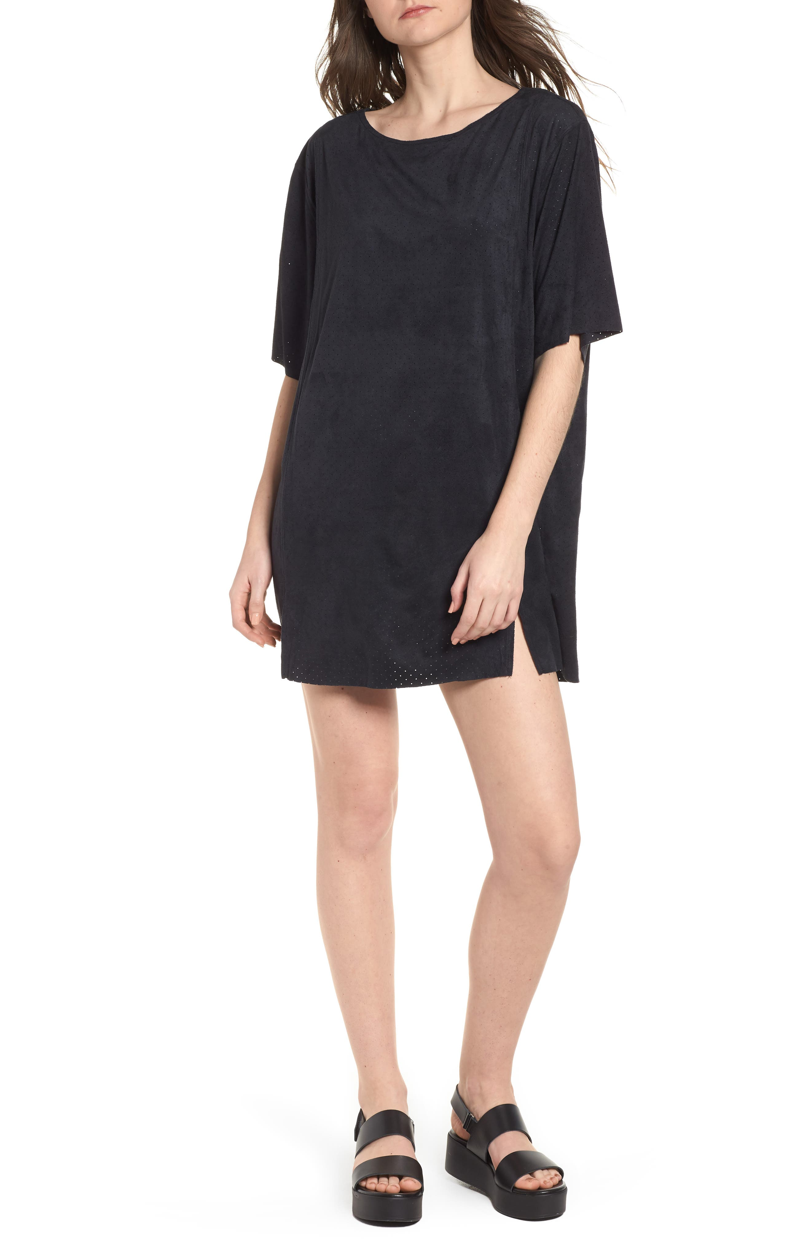 4 the Win Perforated Faux Suede Dress,                         Main,                         color, Black