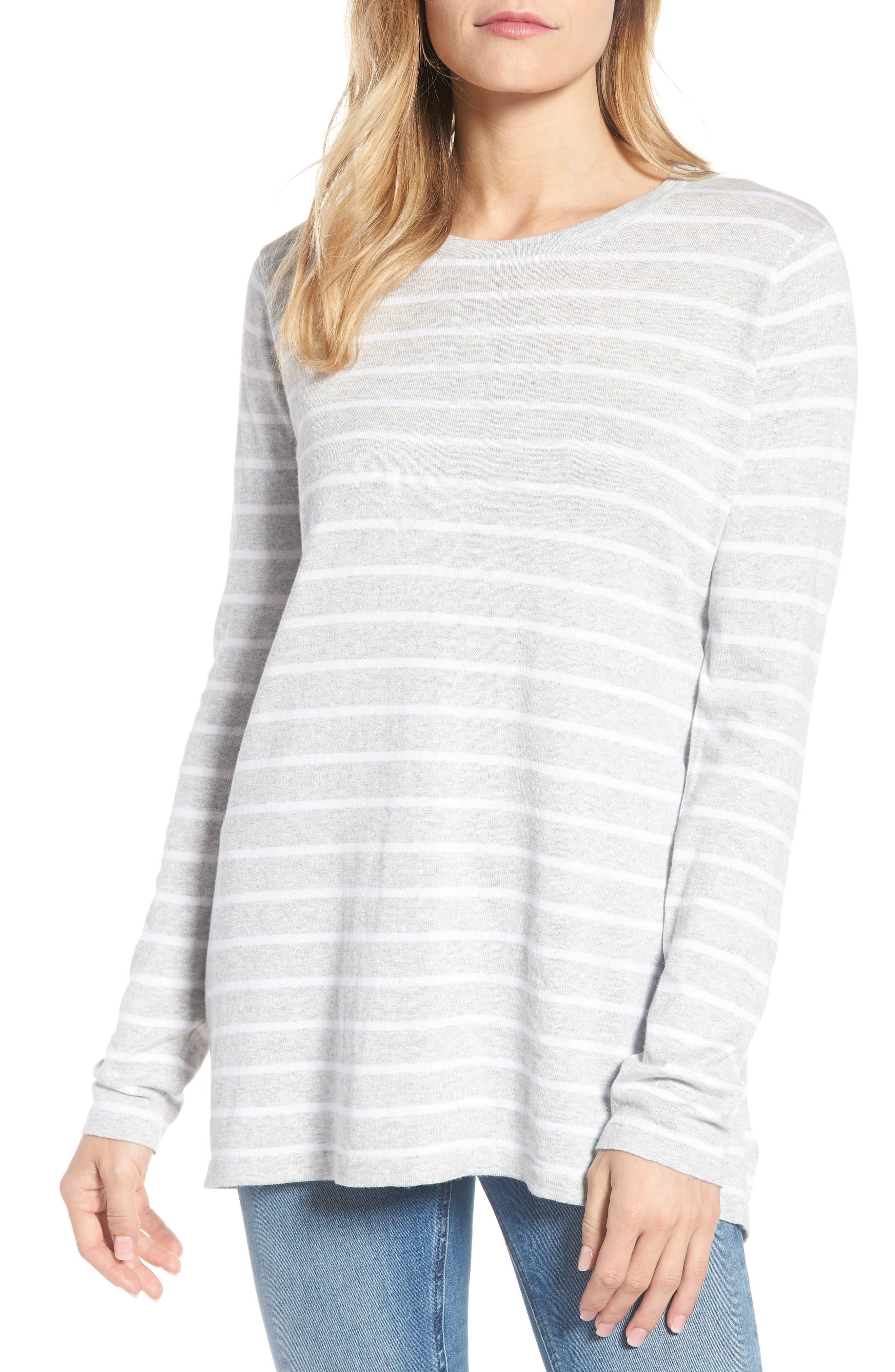 Cotton Blend Stripe Trapeze Cotton Blend Sweater,                             Main thumbnail 1, color,                             Pebble Grey Mix Warm White