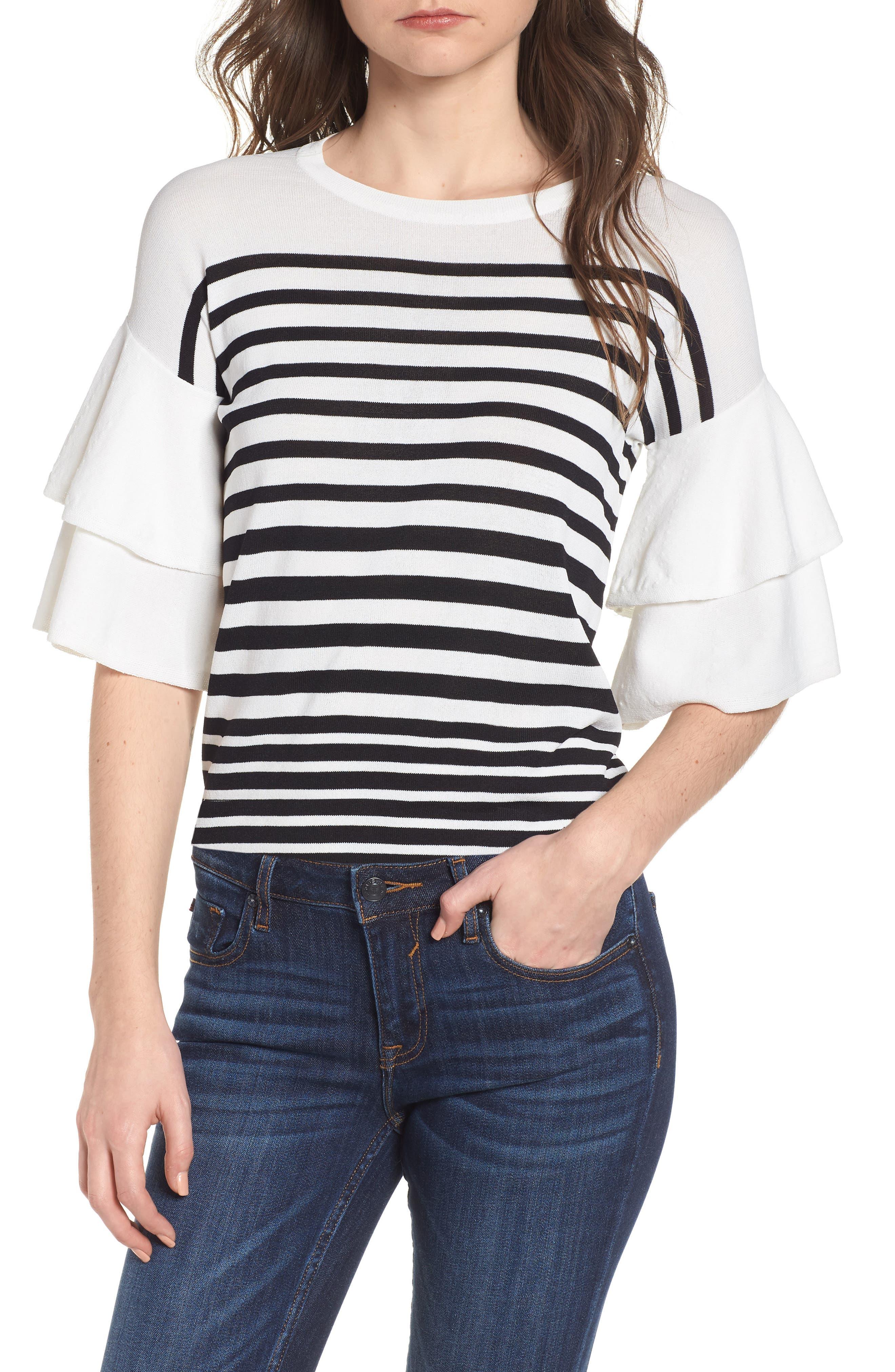 Marin Stripe Ruffle Sleeve Sweater,                             Main thumbnail 1, color,                             White/Black