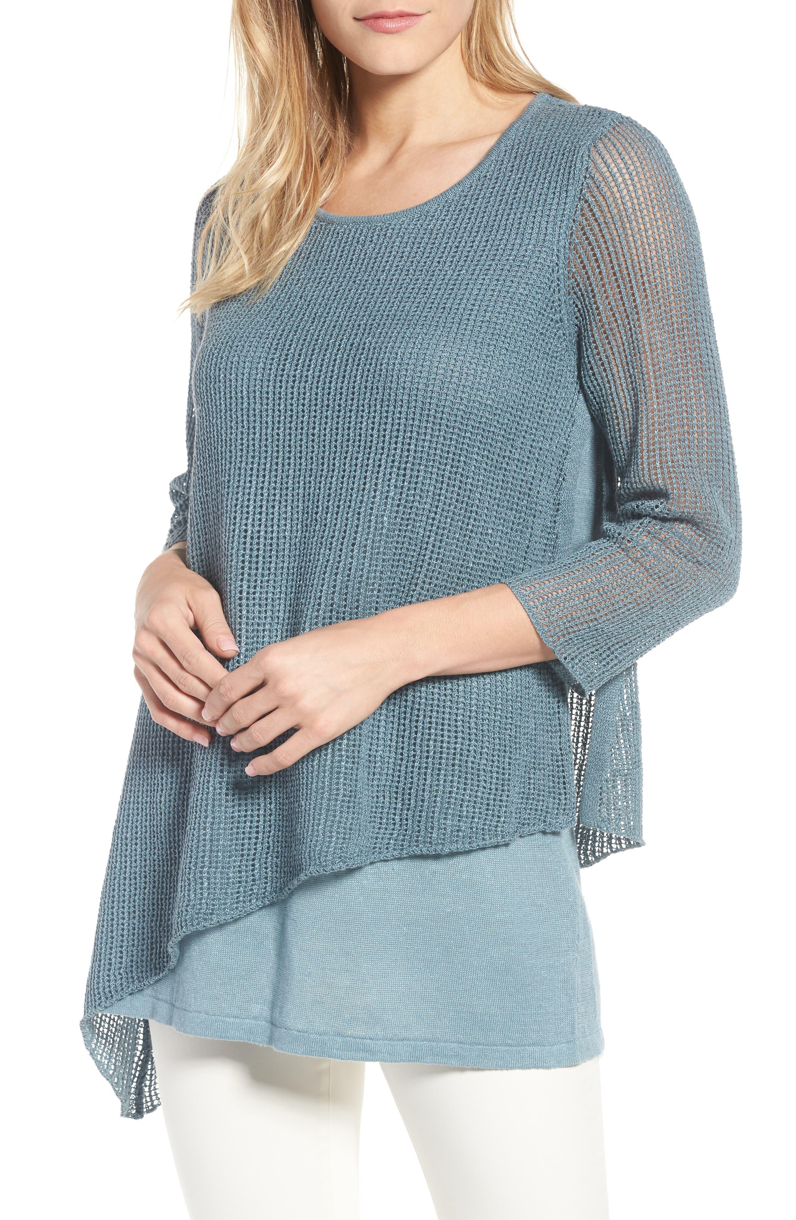 Eileen Fisher Organic Linen Tunic Sweater (Regular & Petite)