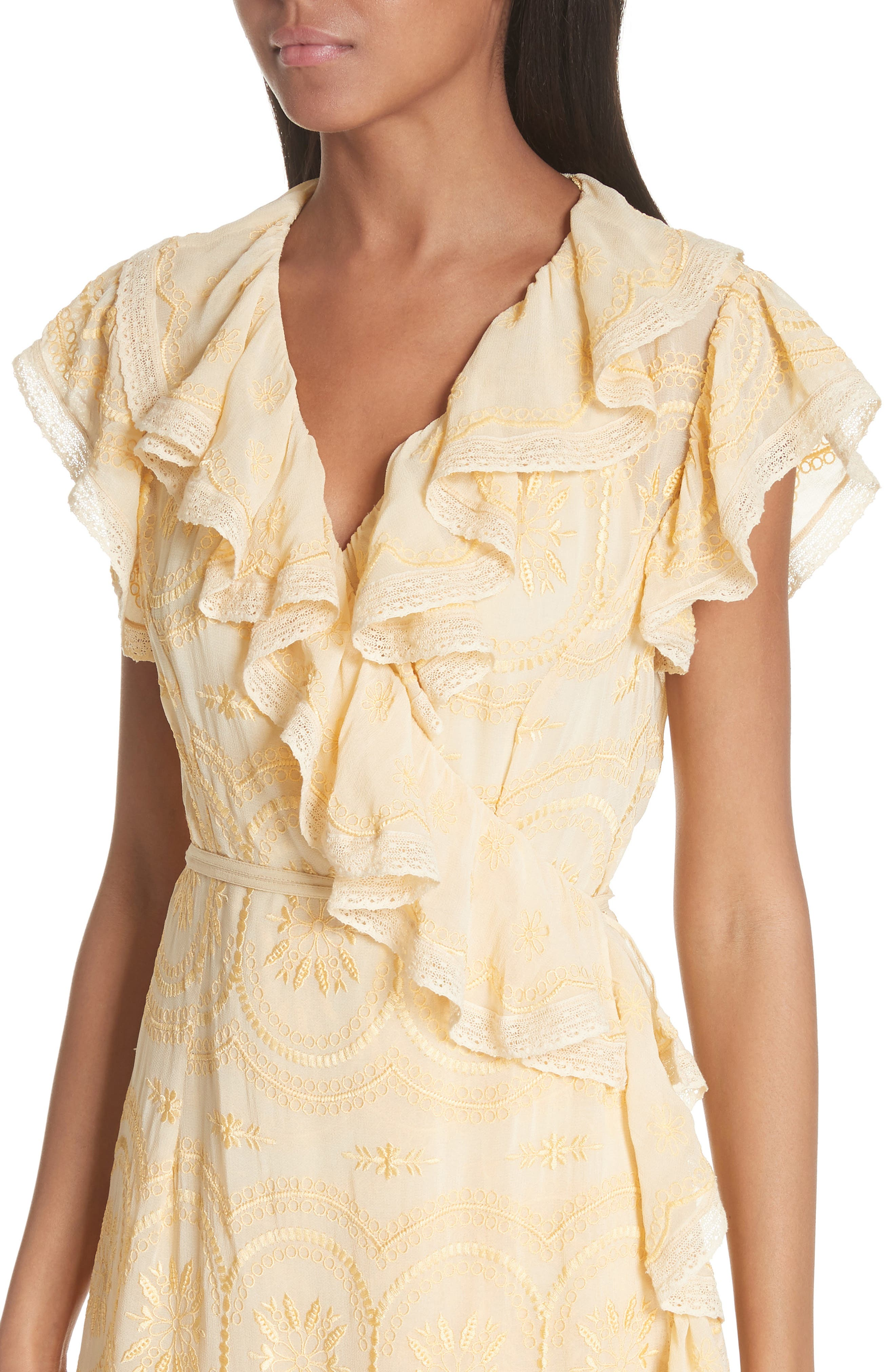 Anglaise Georgette Wrap Dress,                             Alternate thumbnail 4, color,                             Yellow