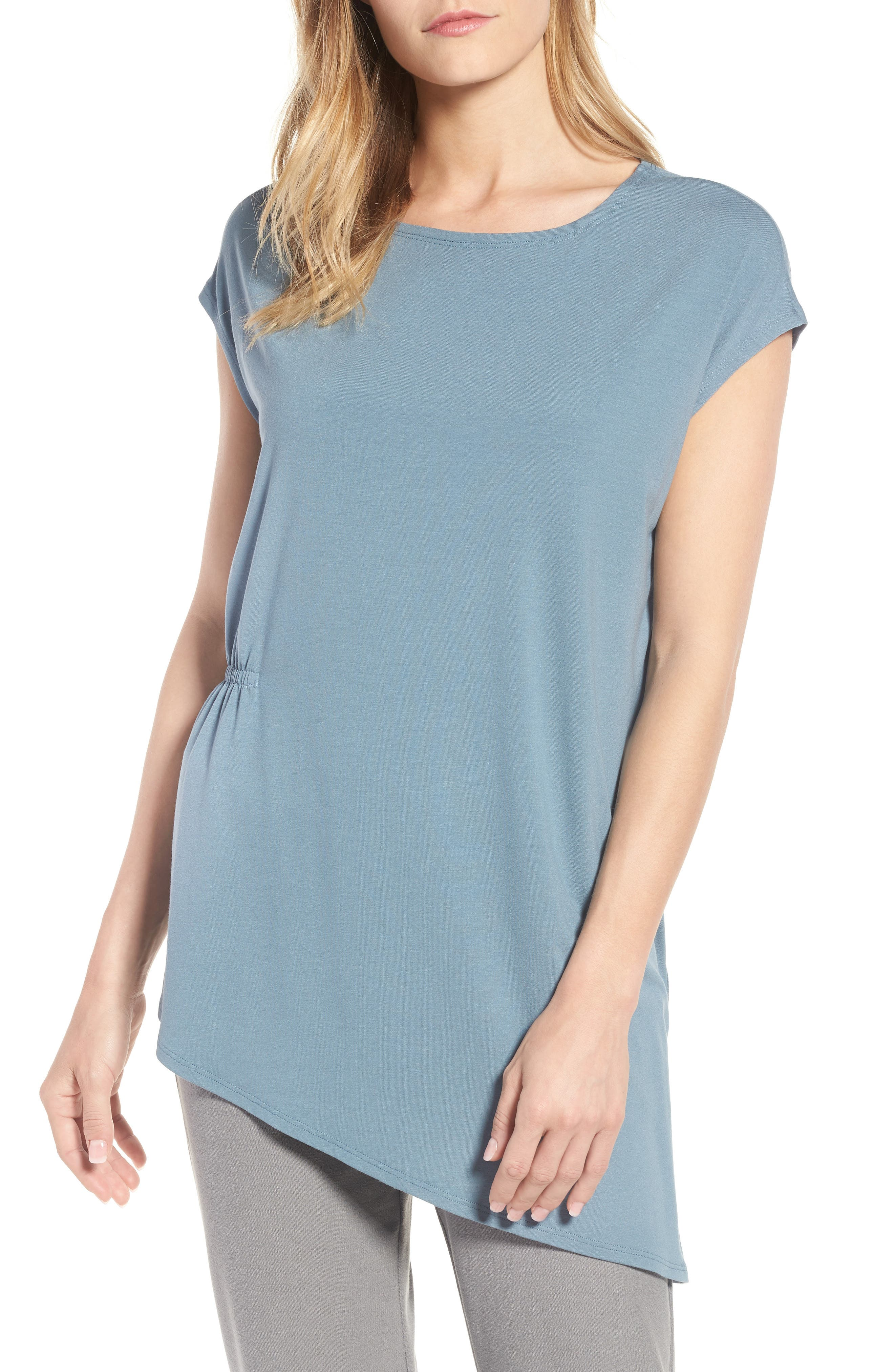 Asymmetrical Stretch Jersey Top,                         Main,                         color, Blue Steel