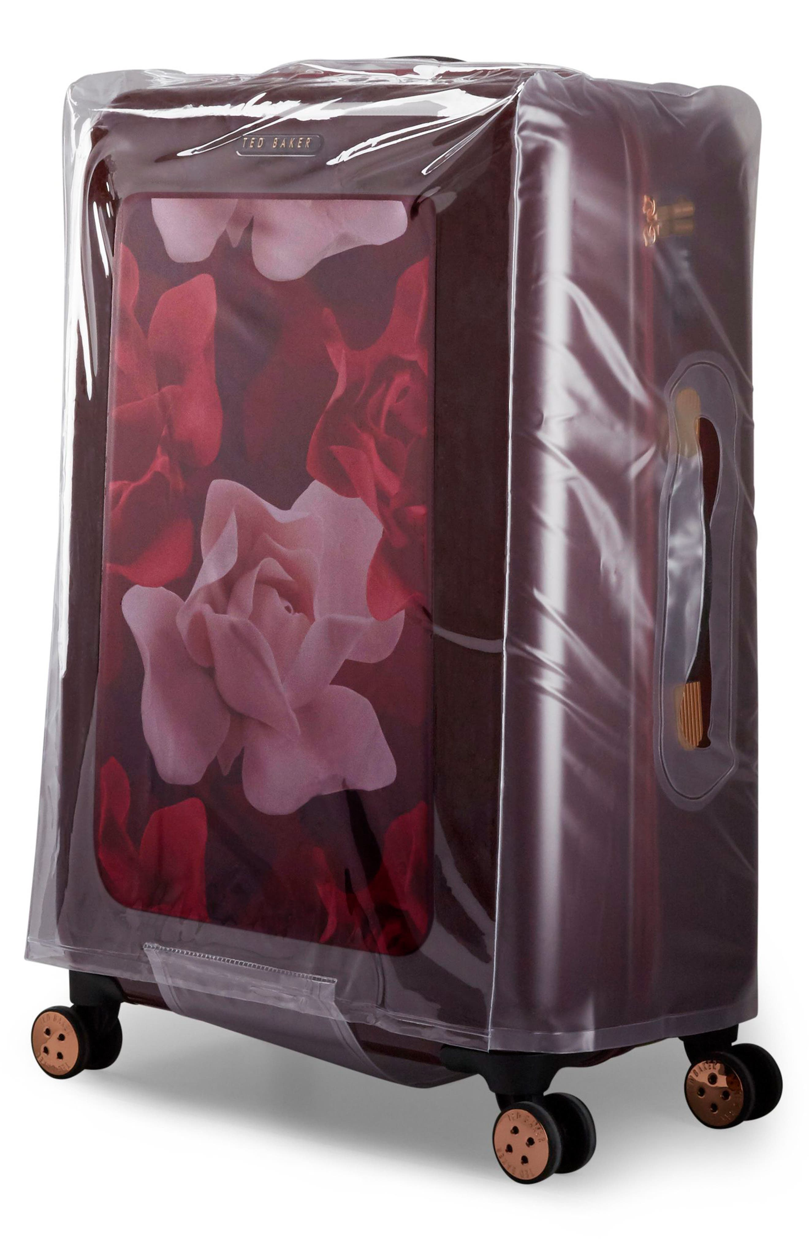 Large Porcelain Rose 31-Inch Hard Shell Spinner Suitcase,                             Alternate thumbnail 9, color,                             Burgundy