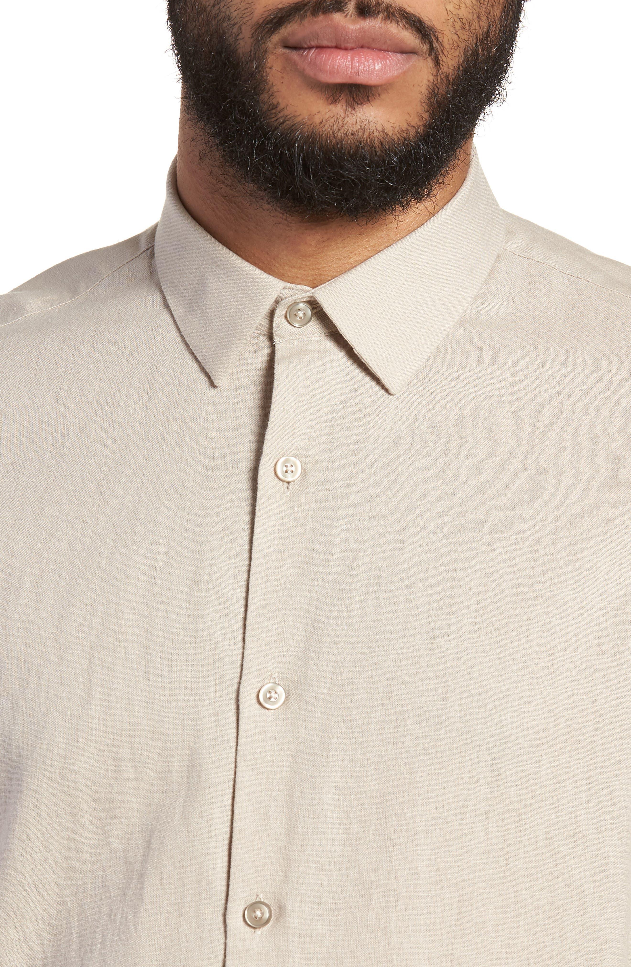 Linen Blend Sport Shirt,                             Alternate thumbnail 2, color,                             Beige Bliss