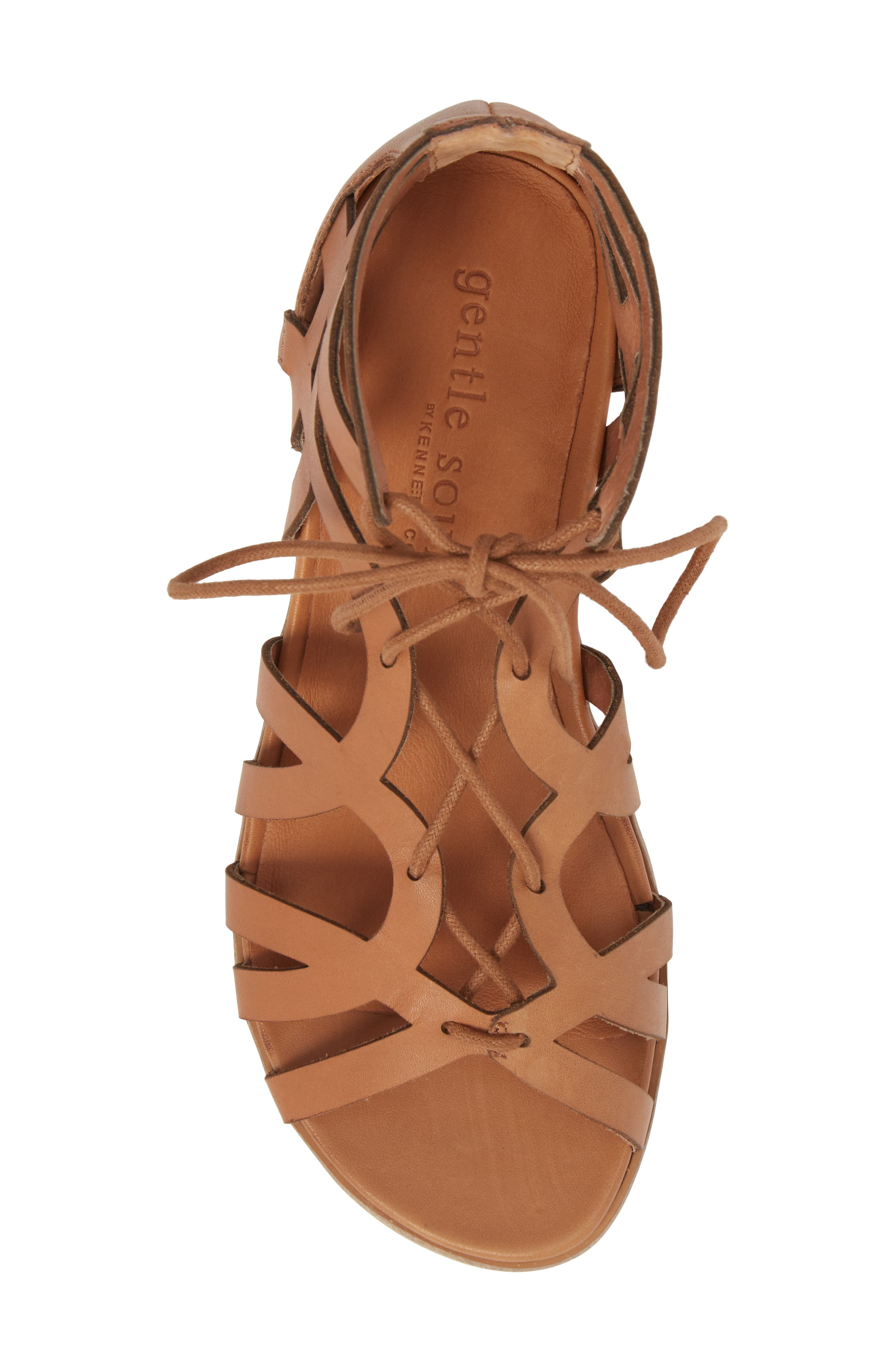 by Kenneth Cole Larina Lace-Up Sandal,                             Alternate thumbnail 5, color,                             Tan Leather