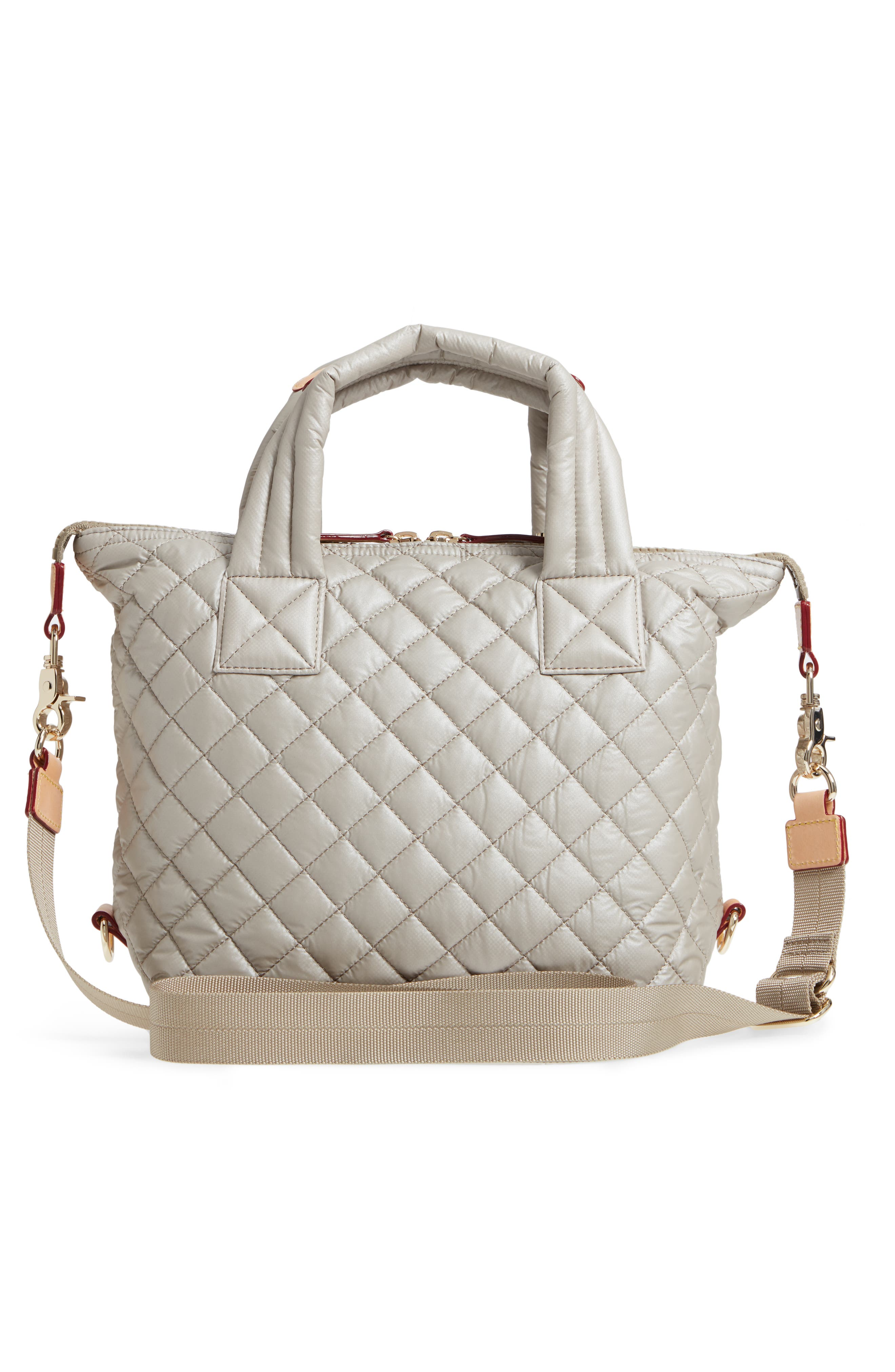Small Sutton Quilted Oxford Nylon Tote,                             Alternate thumbnail 3, color,                             Atmosphere Metallic