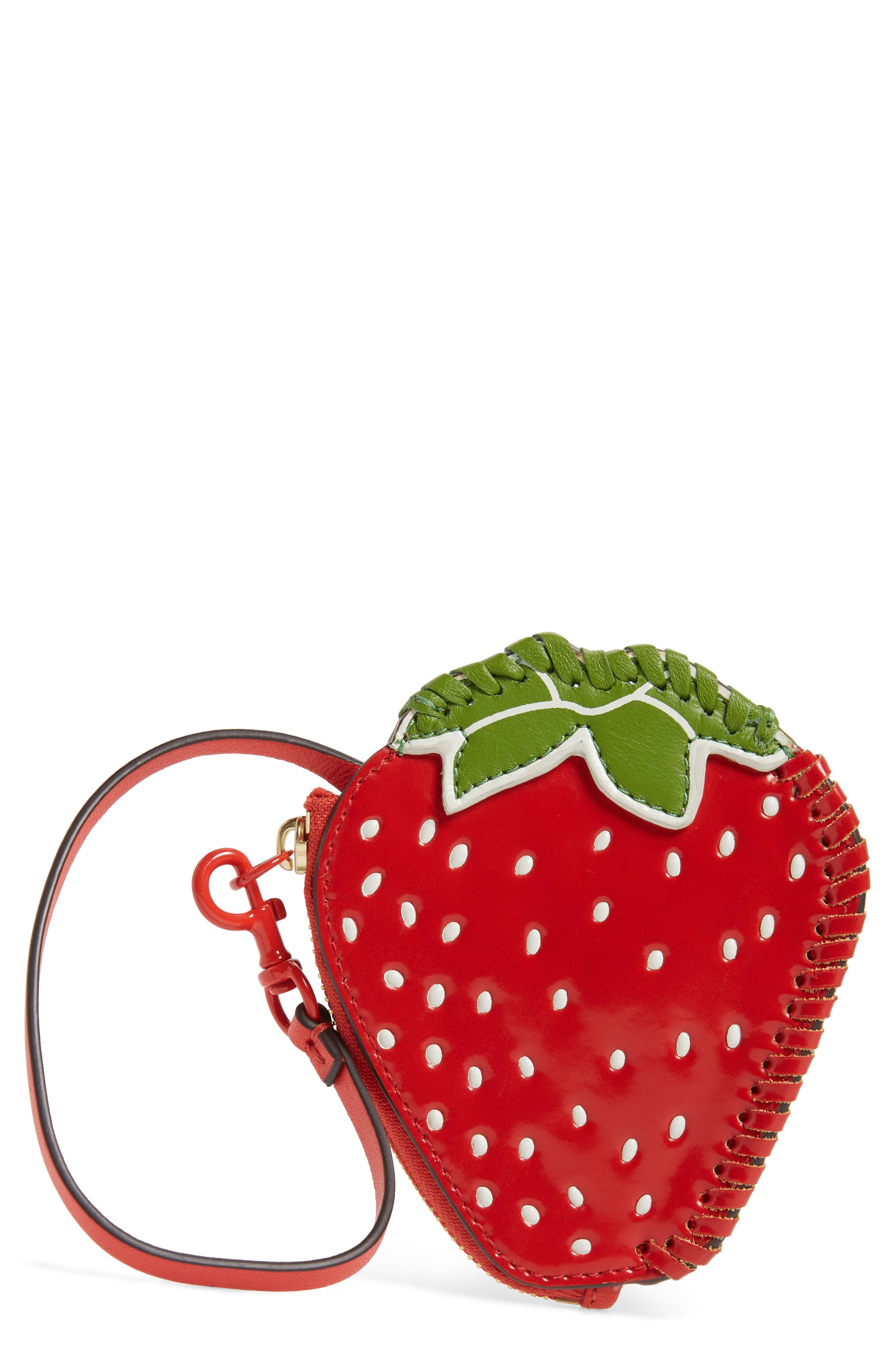 Strawberry Leather Coin Pouch,                         Main,                         color, Poppy Orange / Leaf Green