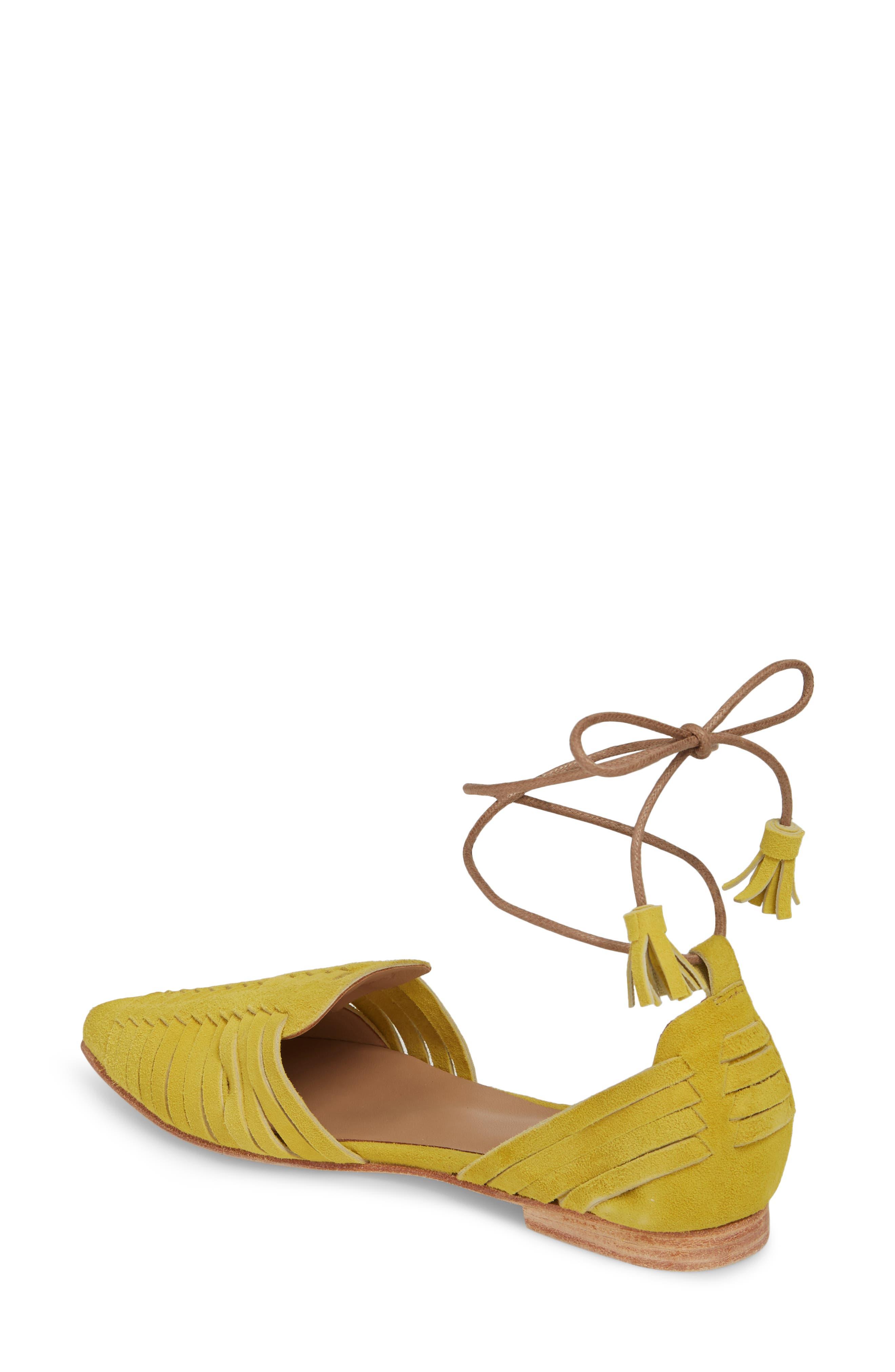 Hollis Huarache Ankle Tie Flat,                             Alternate thumbnail 2, color,                             Citron Suede