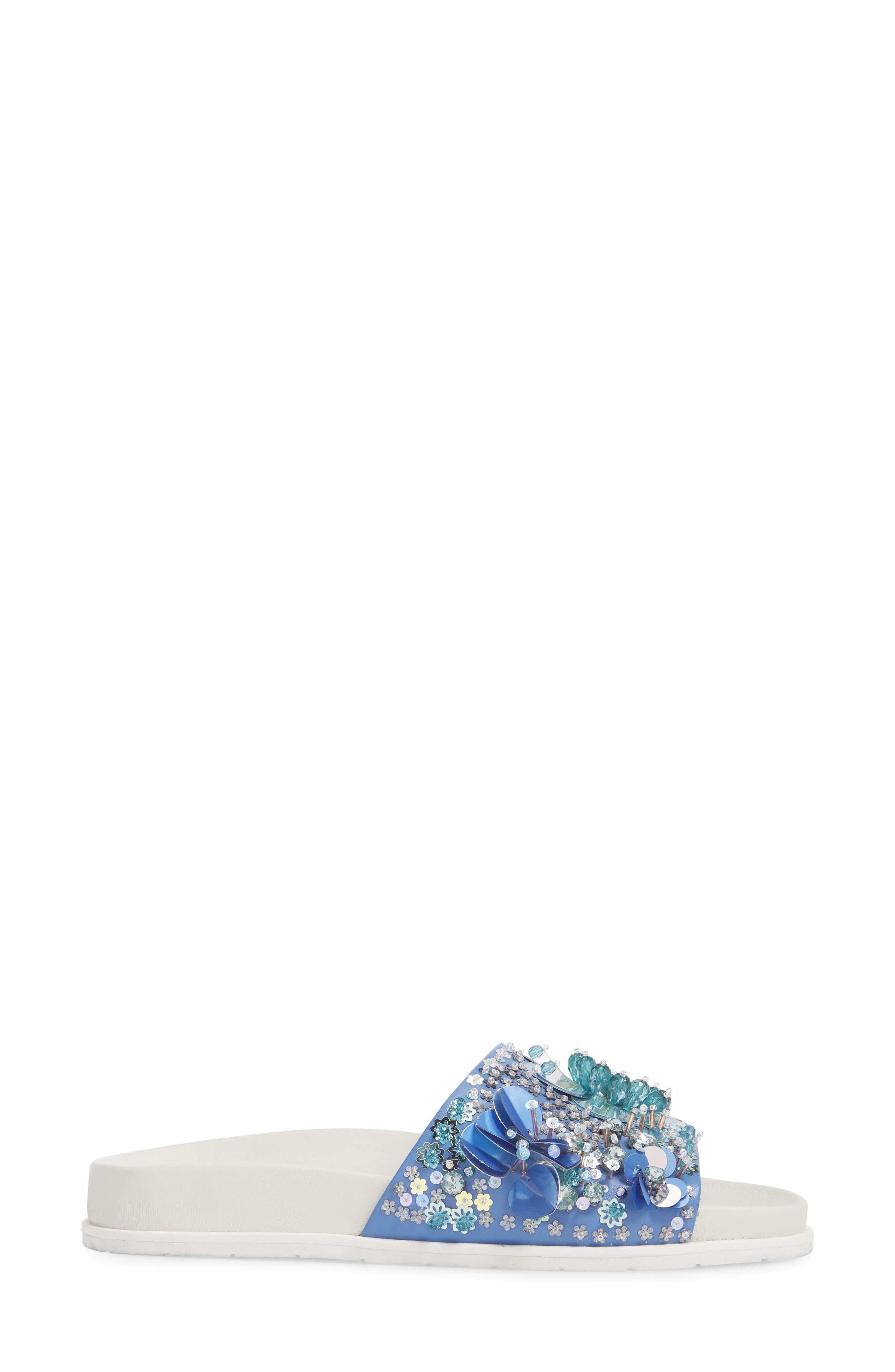 Xenia Sequin Embellished Sandal,                             Alternate thumbnail 3, color,                             Blue Multi Fabric