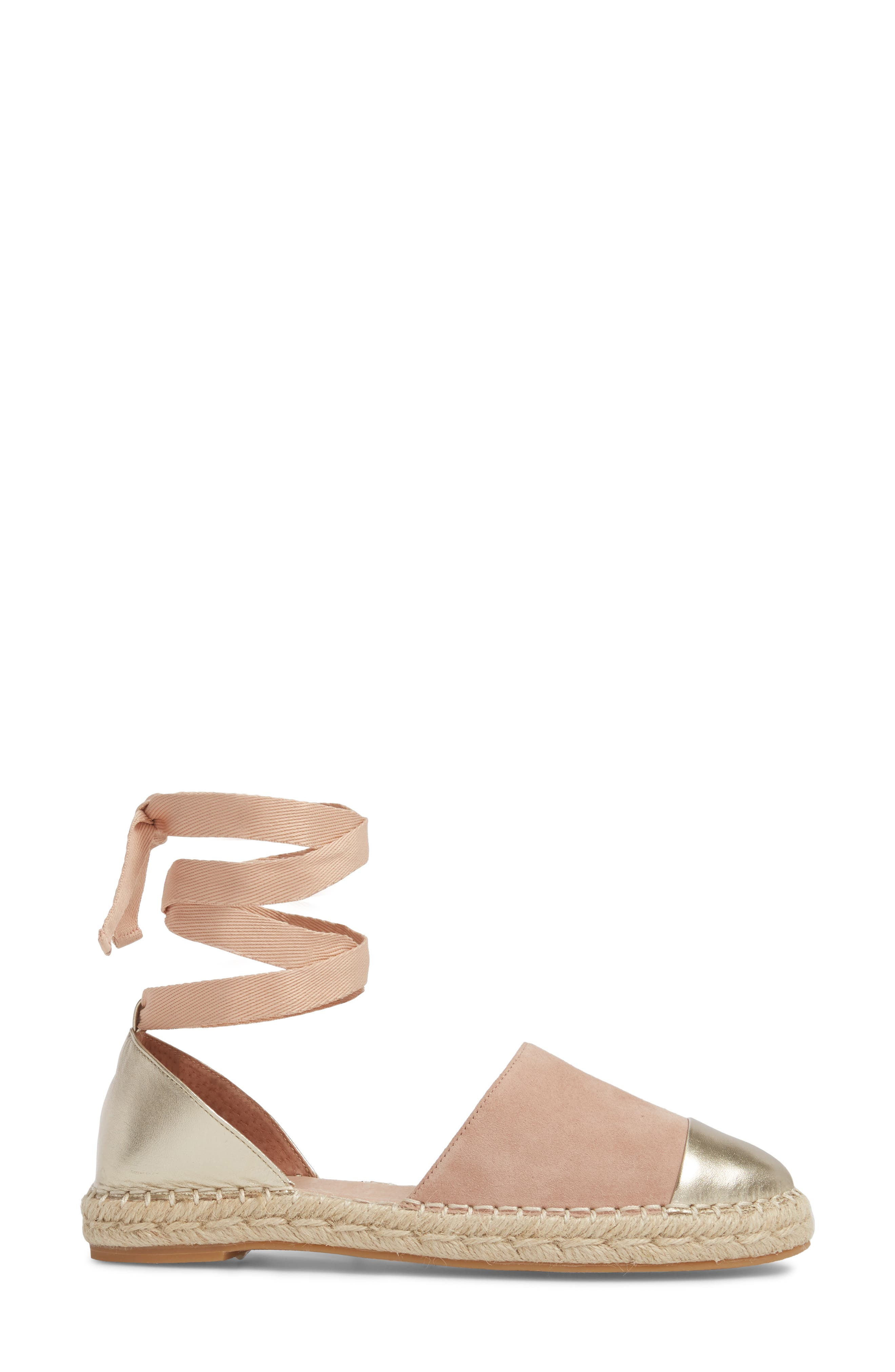 Cain Ankle-Tie Sandal,                             Alternate thumbnail 3, color,                             Nude Suede/ Gold Leather