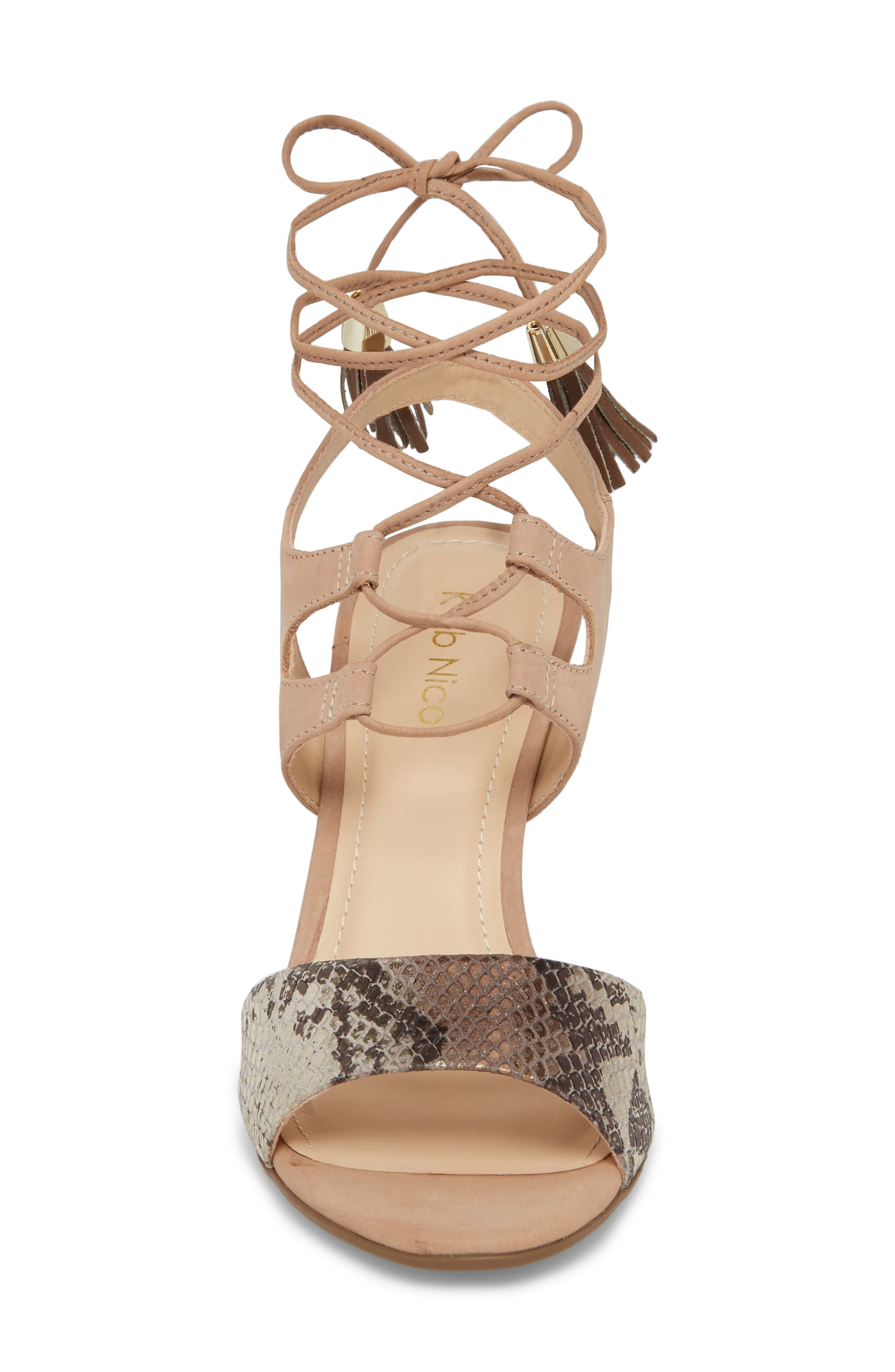 Kaira Ankle Wrap Sandal,                             Alternate thumbnail 4, color,                             Snake Print Leather