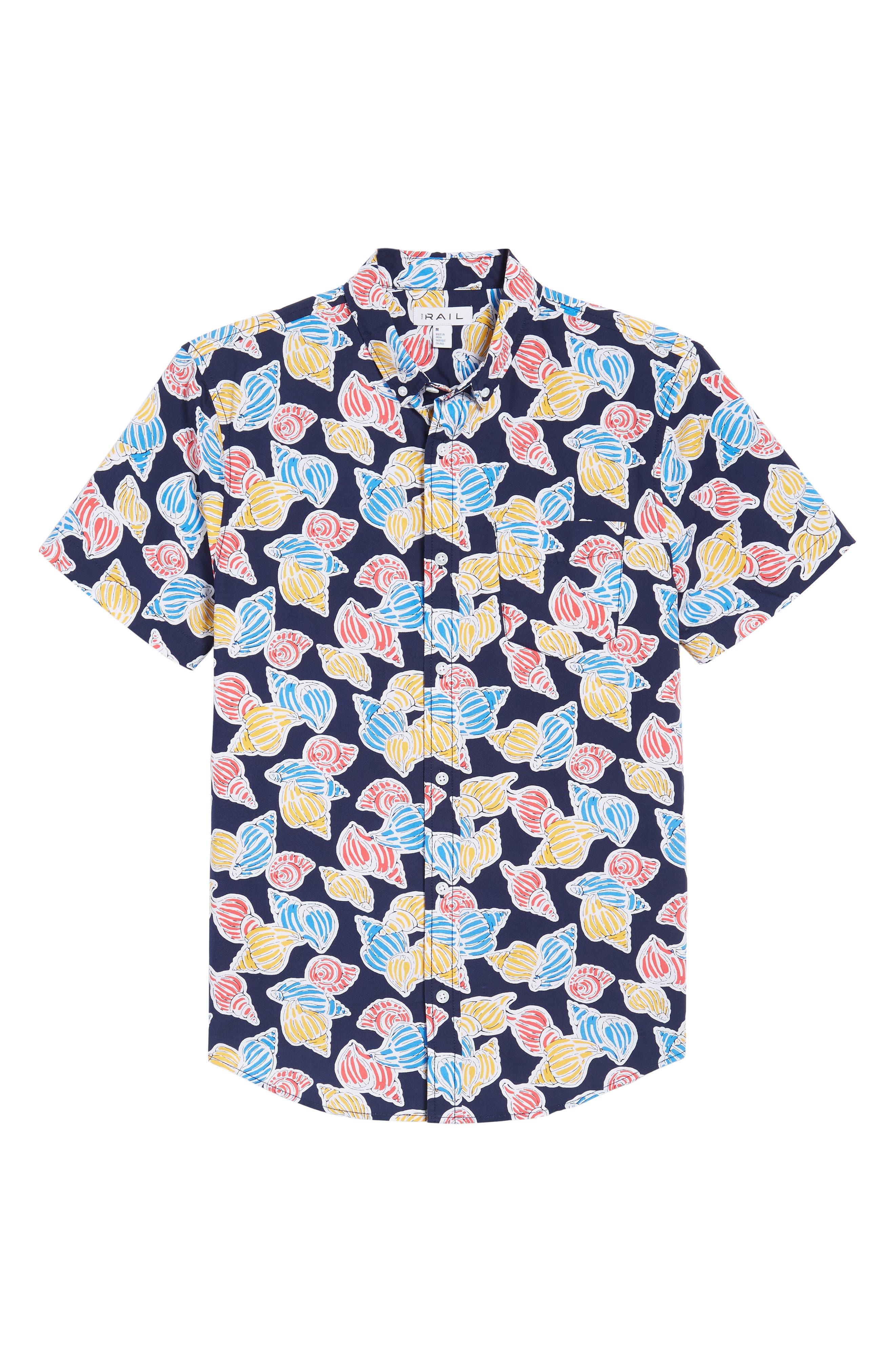 Print Nep Woven Shirt,                             Alternate thumbnail 6, color,                             Navy Shell Print