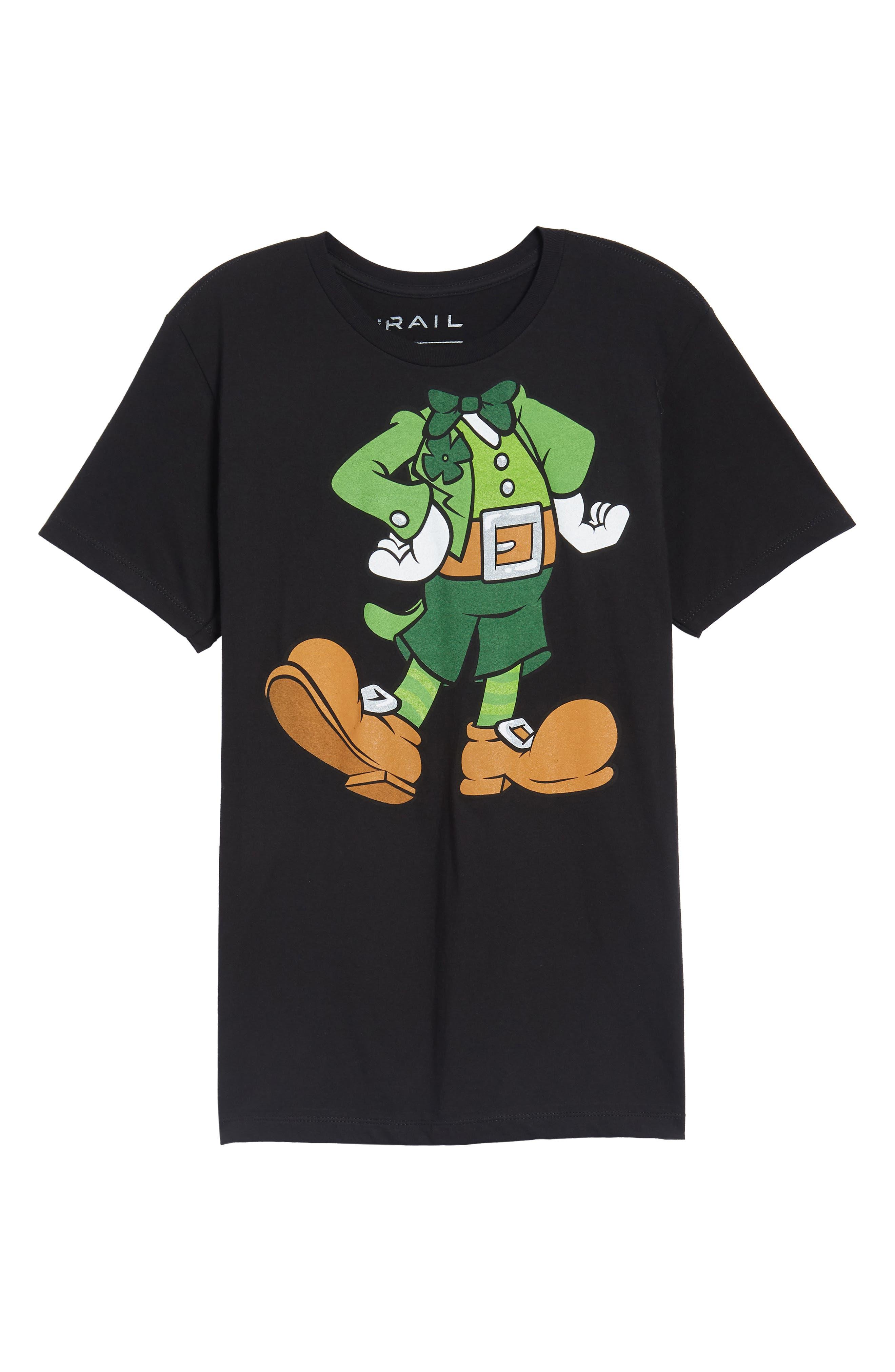 I'm Lucky Graphic T-Shirt,                             Alternate thumbnail 6, color,                             Black Tee Leprechaun