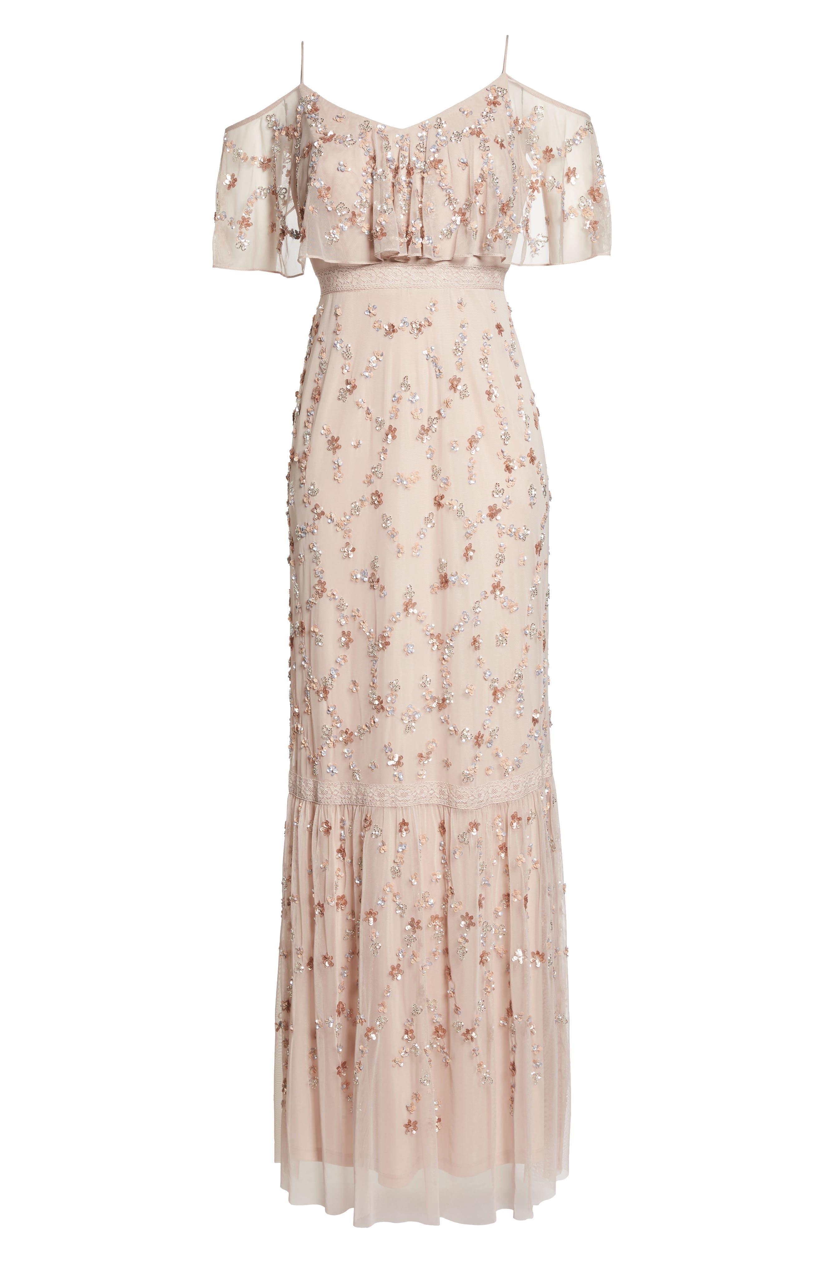 Embellished Mesh Popover Gown,                             Alternate thumbnail 6, color,                             Blush