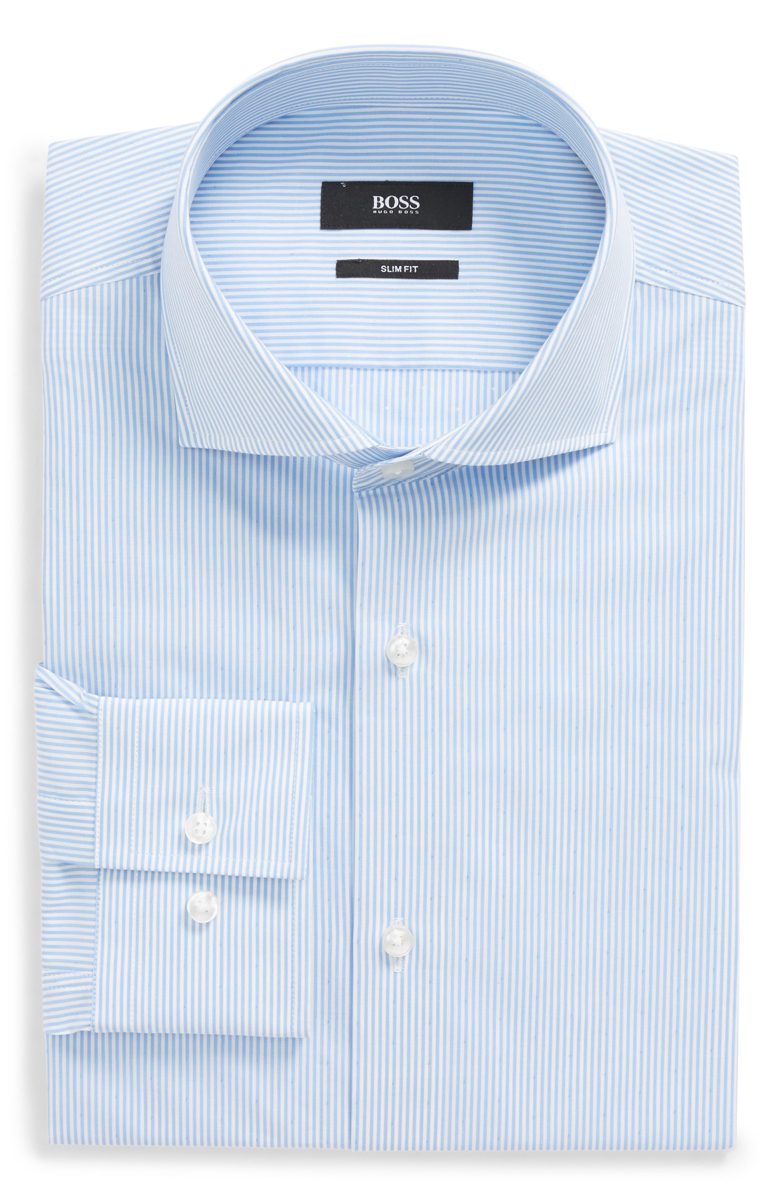 Jason Slim Fit Stripe Dress Shirt,                             Main thumbnail 1, color,                             Blue