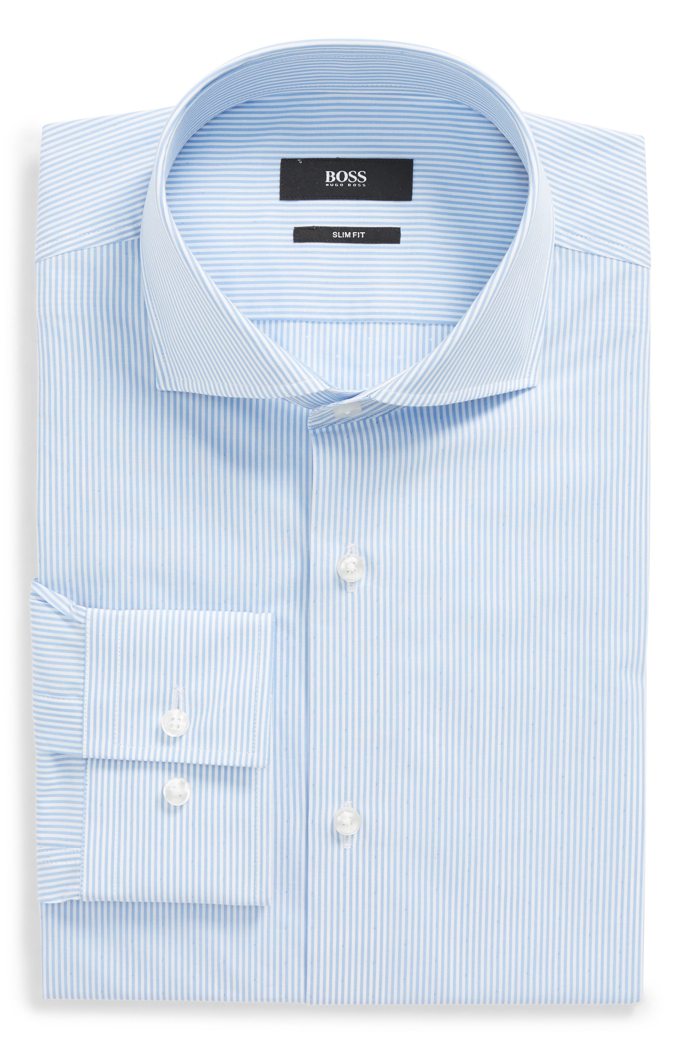 Jason Slim Fit Stripe Dress Shirt,                         Main,                         color, Blue
