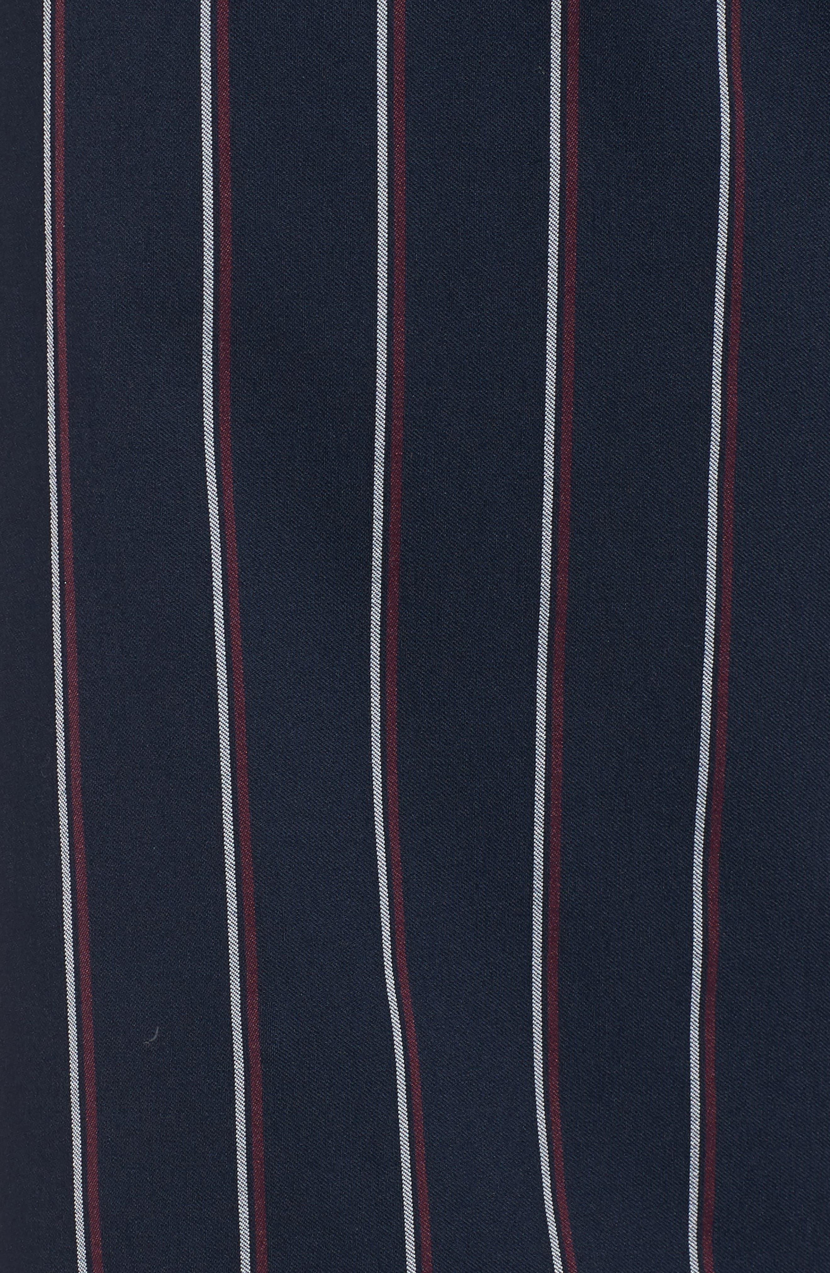 Tie Waist Crop Trousers,                             Alternate thumbnail 6, color,                             Navy Night Stripe