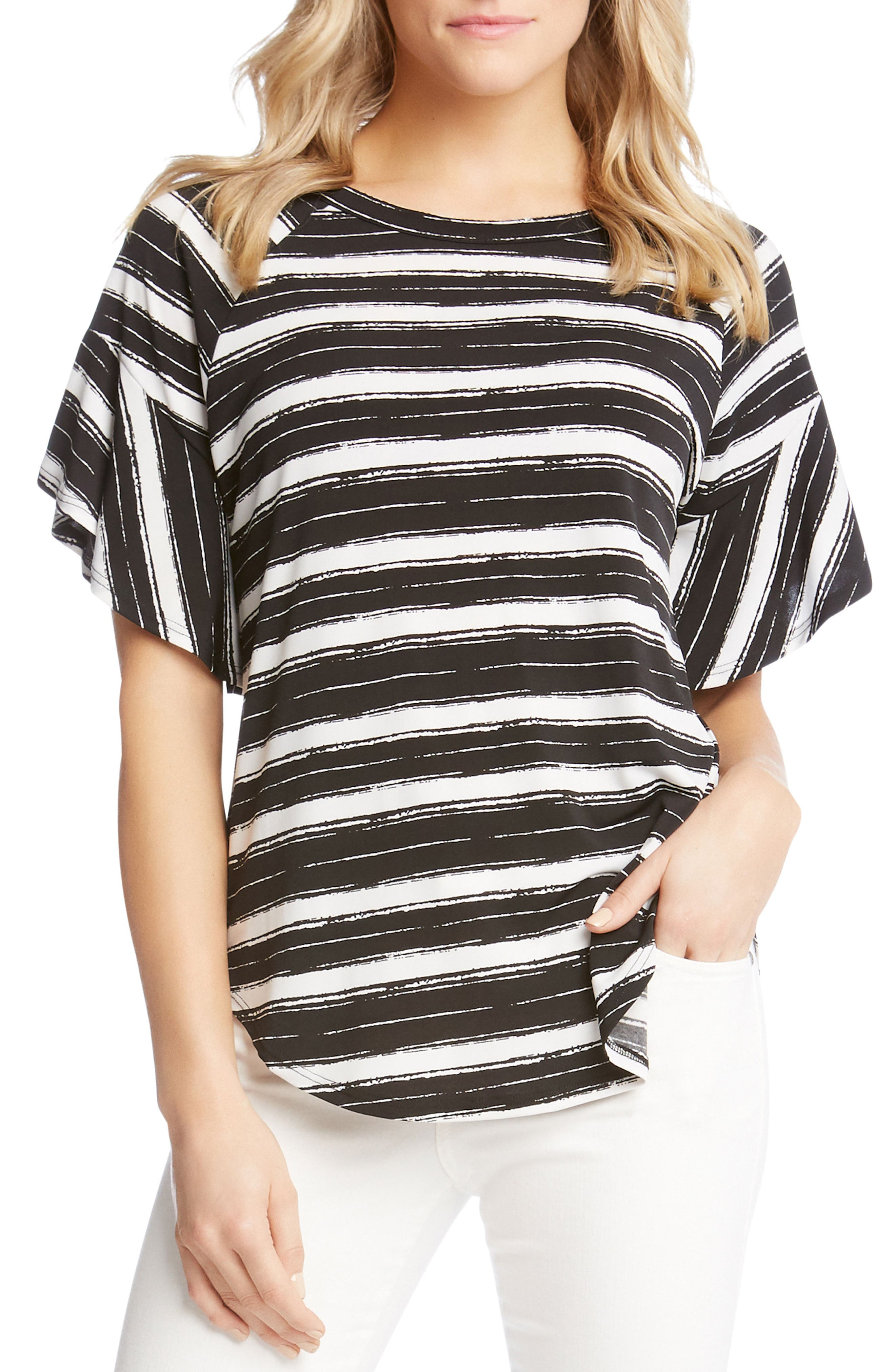 Ruffle Sleeve Stripe Top,                         Main,                         color, Stripe