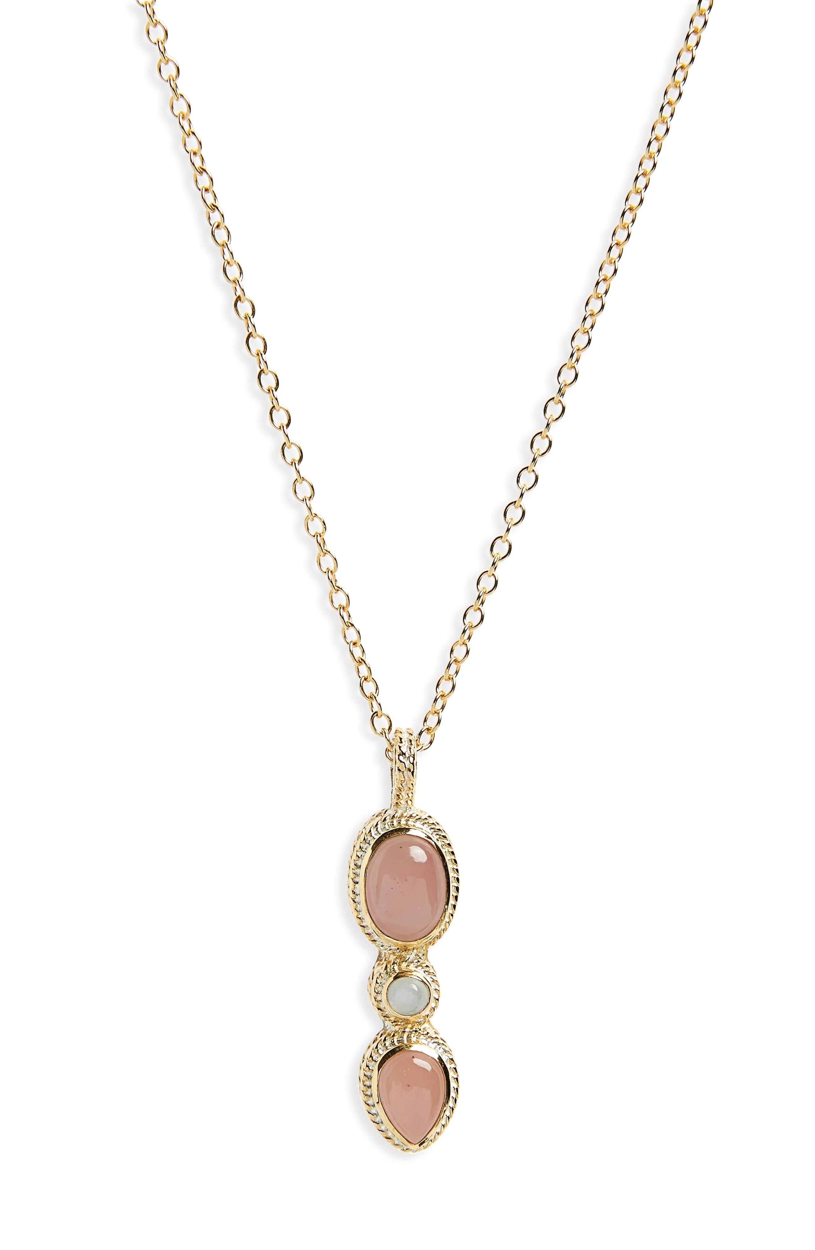 Guava Quartz Pendant Necklace,                             Main thumbnail 1, color,                             Gold/ Guava Quartz/ Moonstone