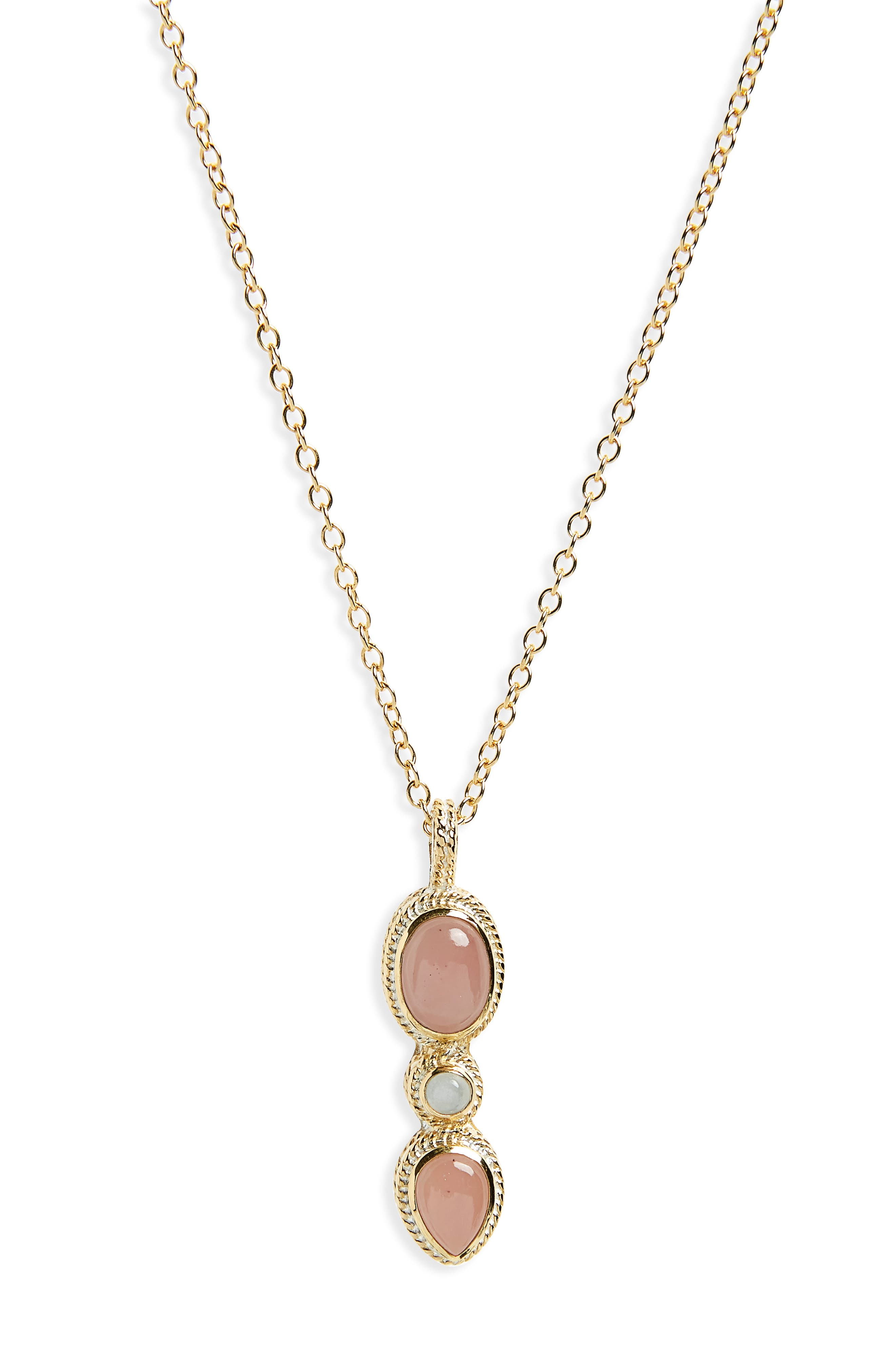 Guava Quartz Pendant Necklace,                         Main,                         color, Gold/ Guava Quartz/ Moonstone