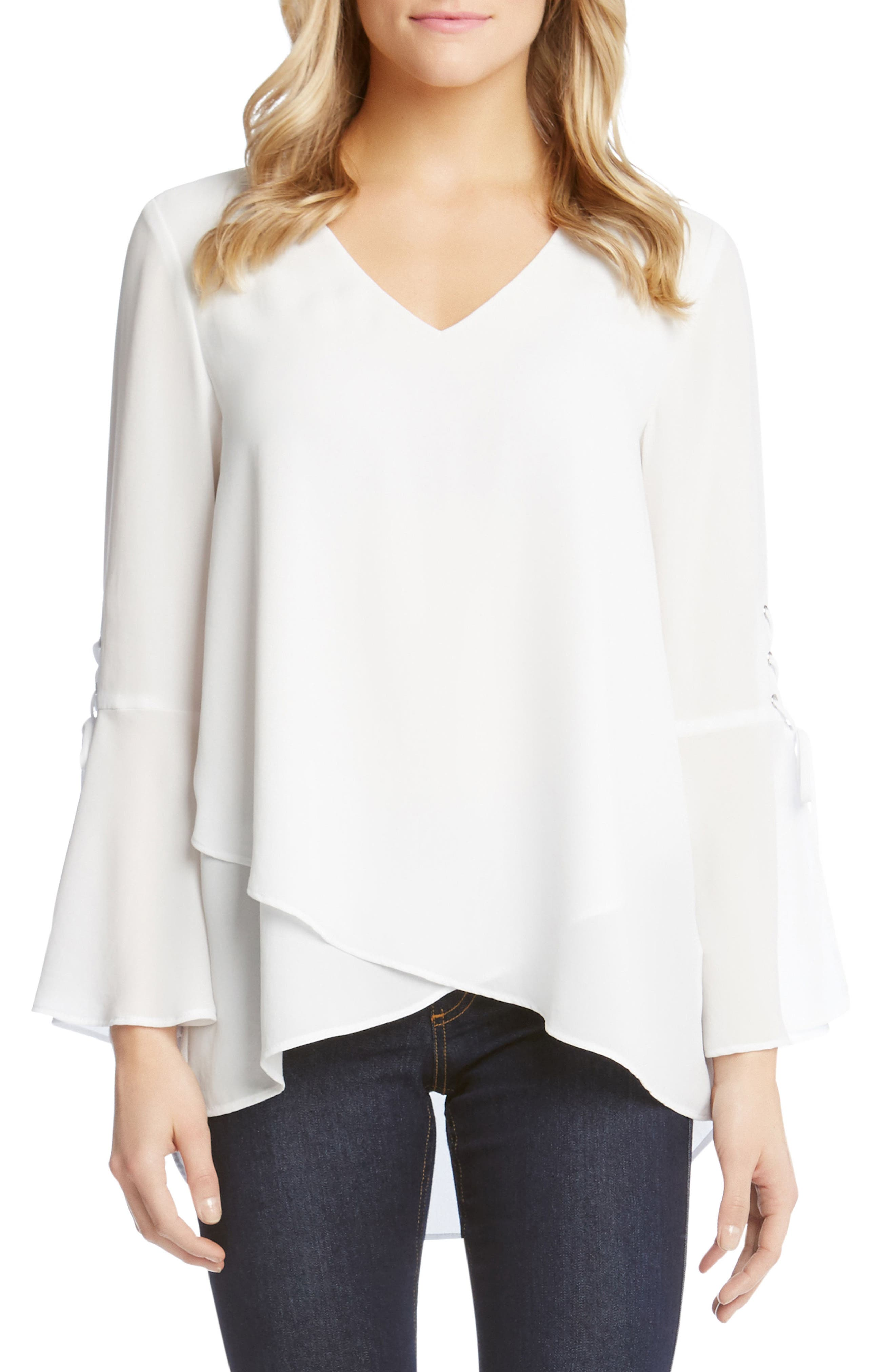 Split Front Tie-Sleeve Top,                             Main thumbnail 1, color,                             Off White
