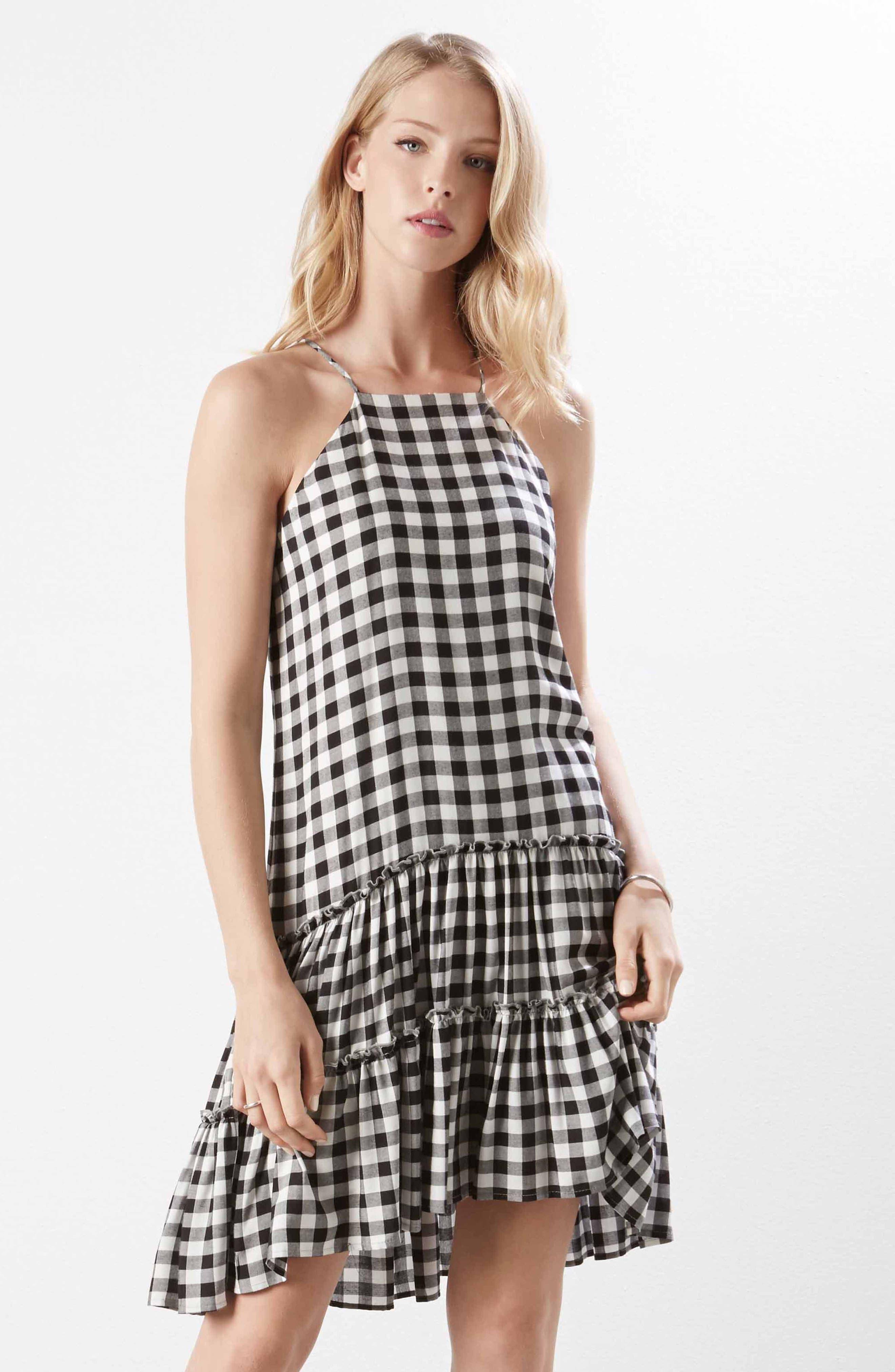 Gingham Ruffle Hem Halter Top Dress,                             Alternate thumbnail 5, color,                             Check