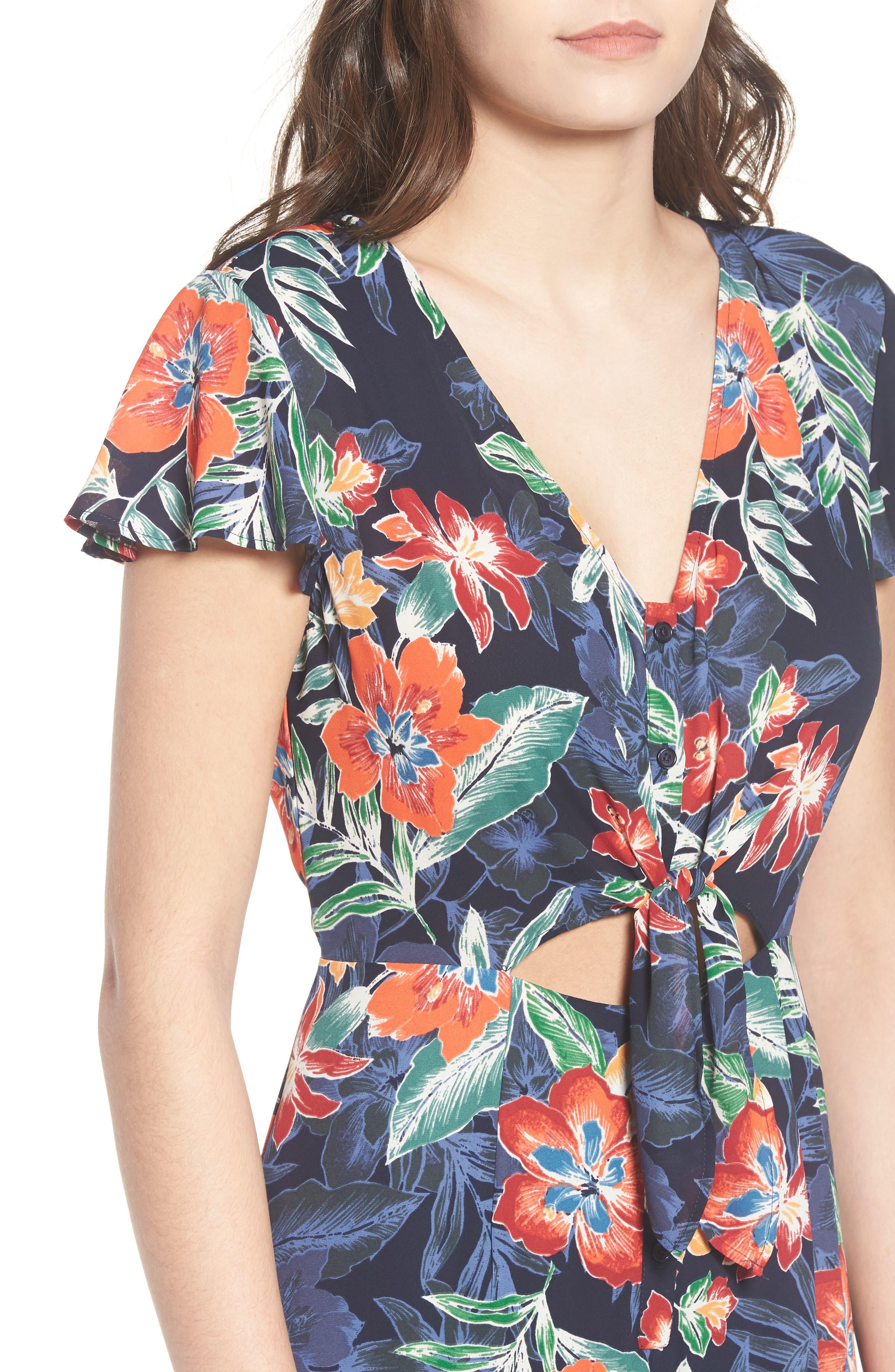 Tie Front Culotte Jumpsuit,                             Alternate thumbnail 4, color,                             Navy/ Multi
