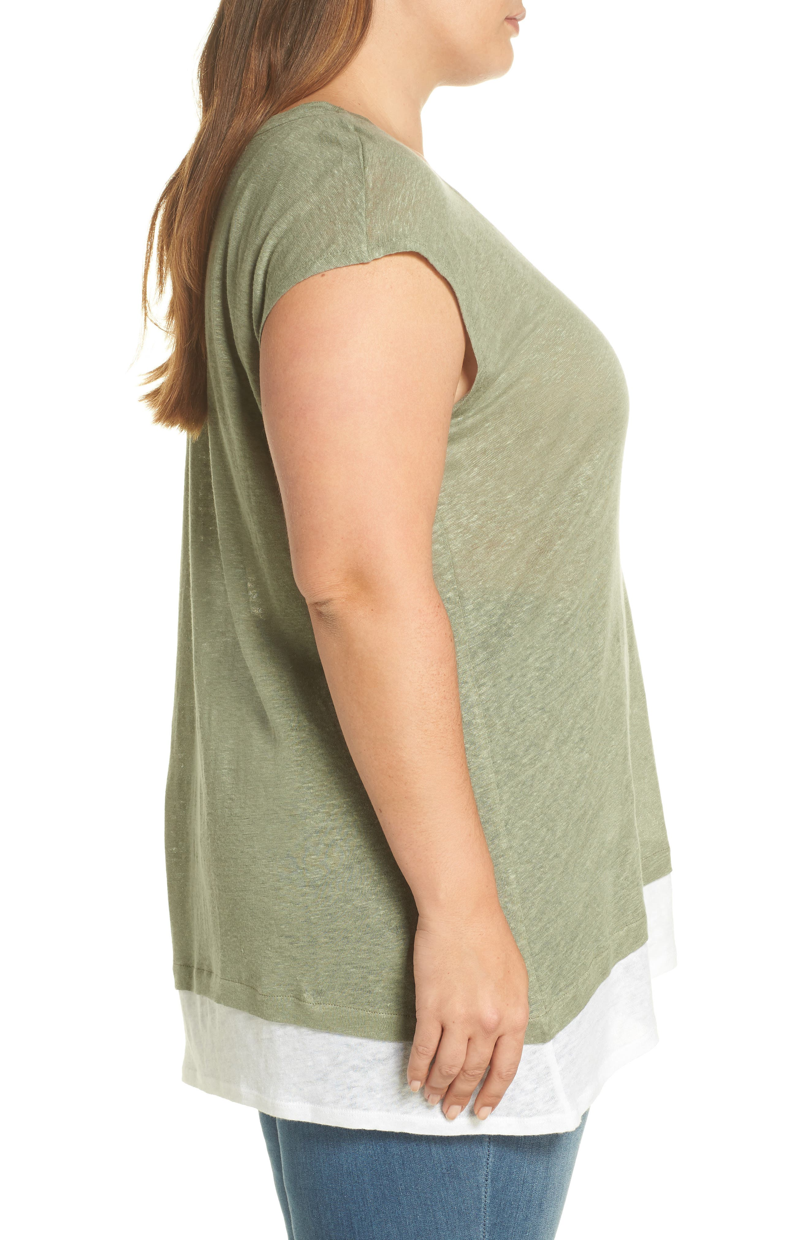 Layered Look Tee,                             Alternate thumbnail 3, color,                             Canopy Green
