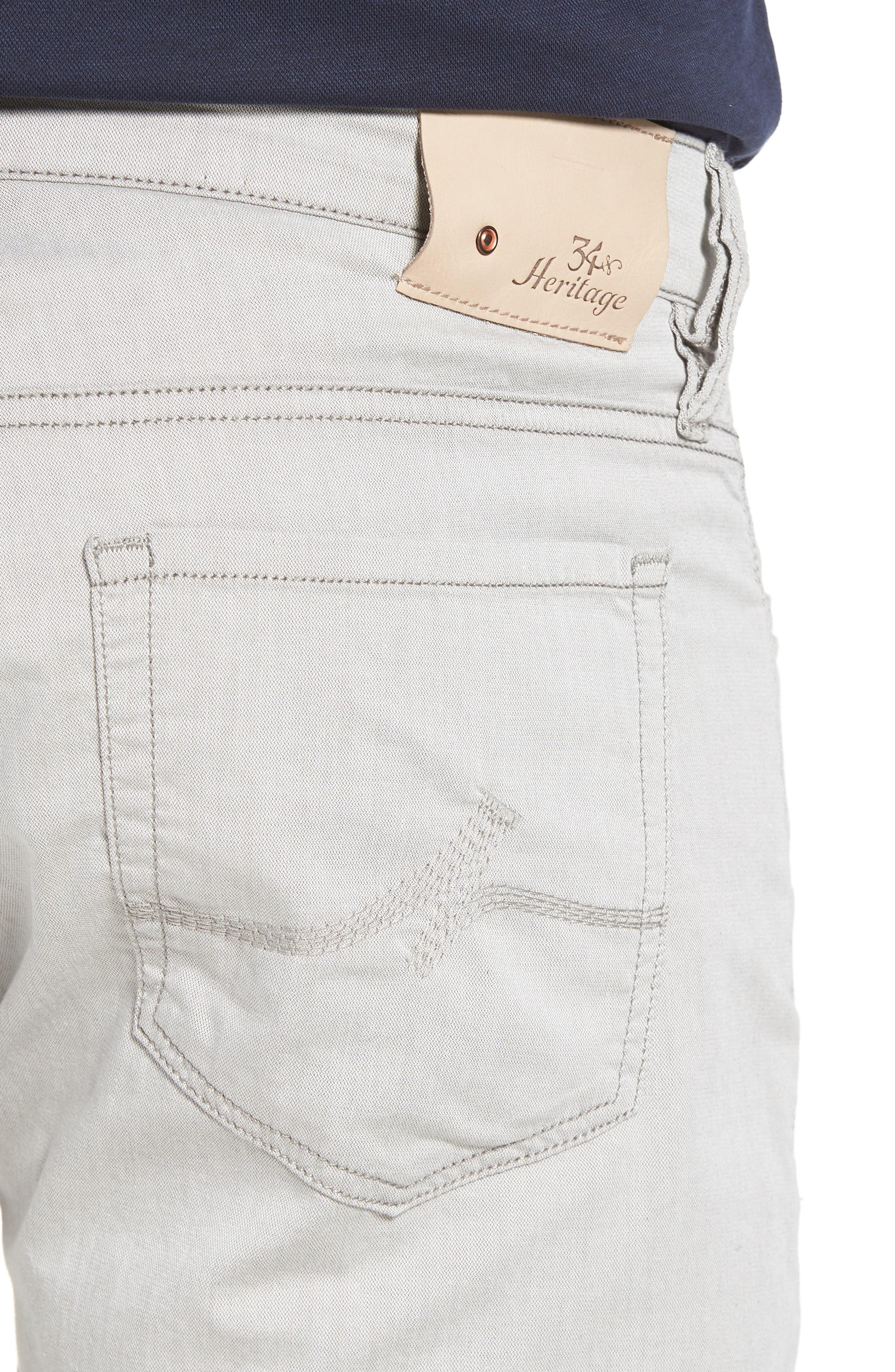 Courage Straight Leg Jeans,                             Alternate thumbnail 4, color,                             Latte Herringbone Reversed