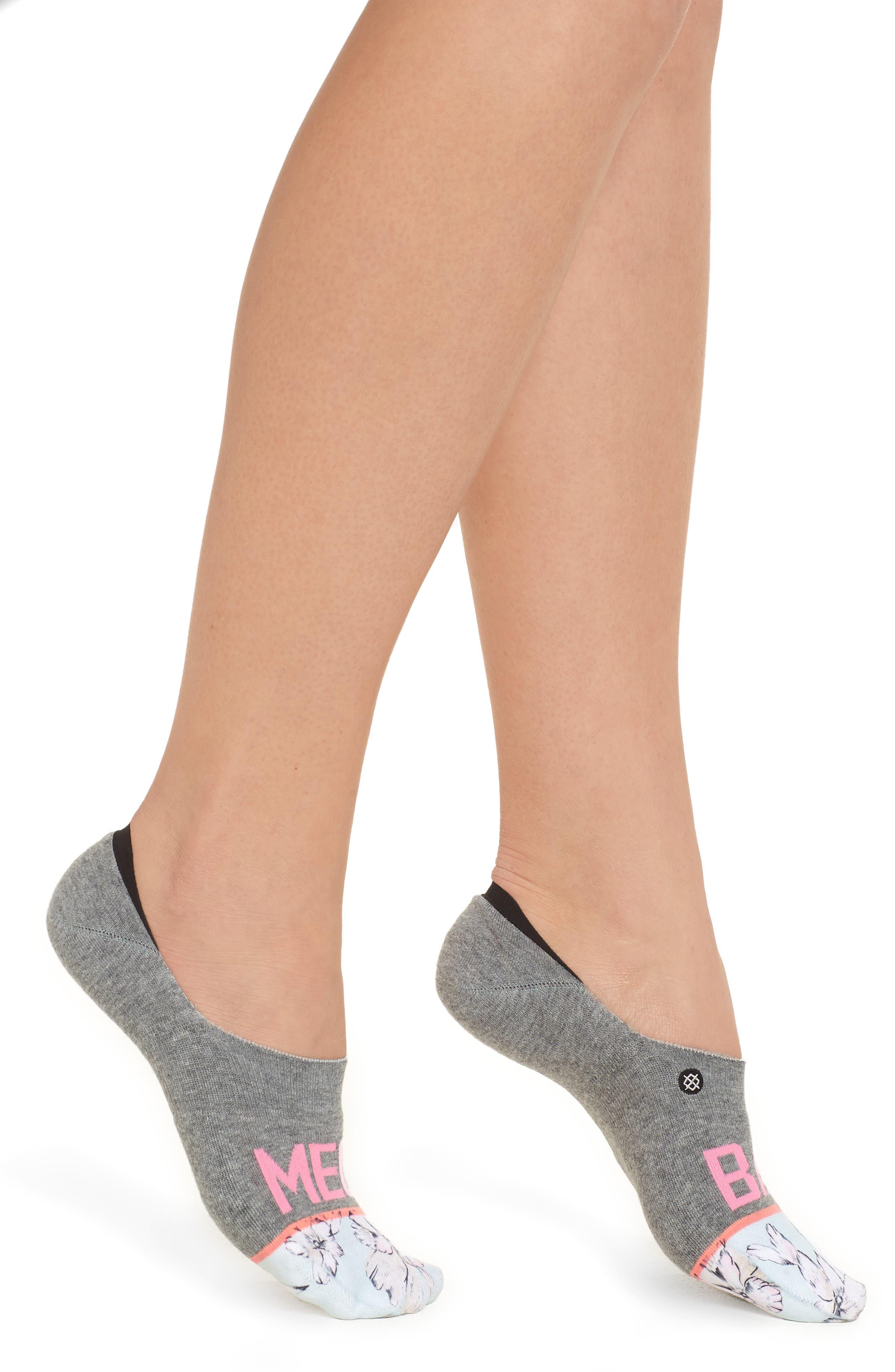Mega Babe No-Show Socks,                             Main thumbnail 1, color,                             Grey