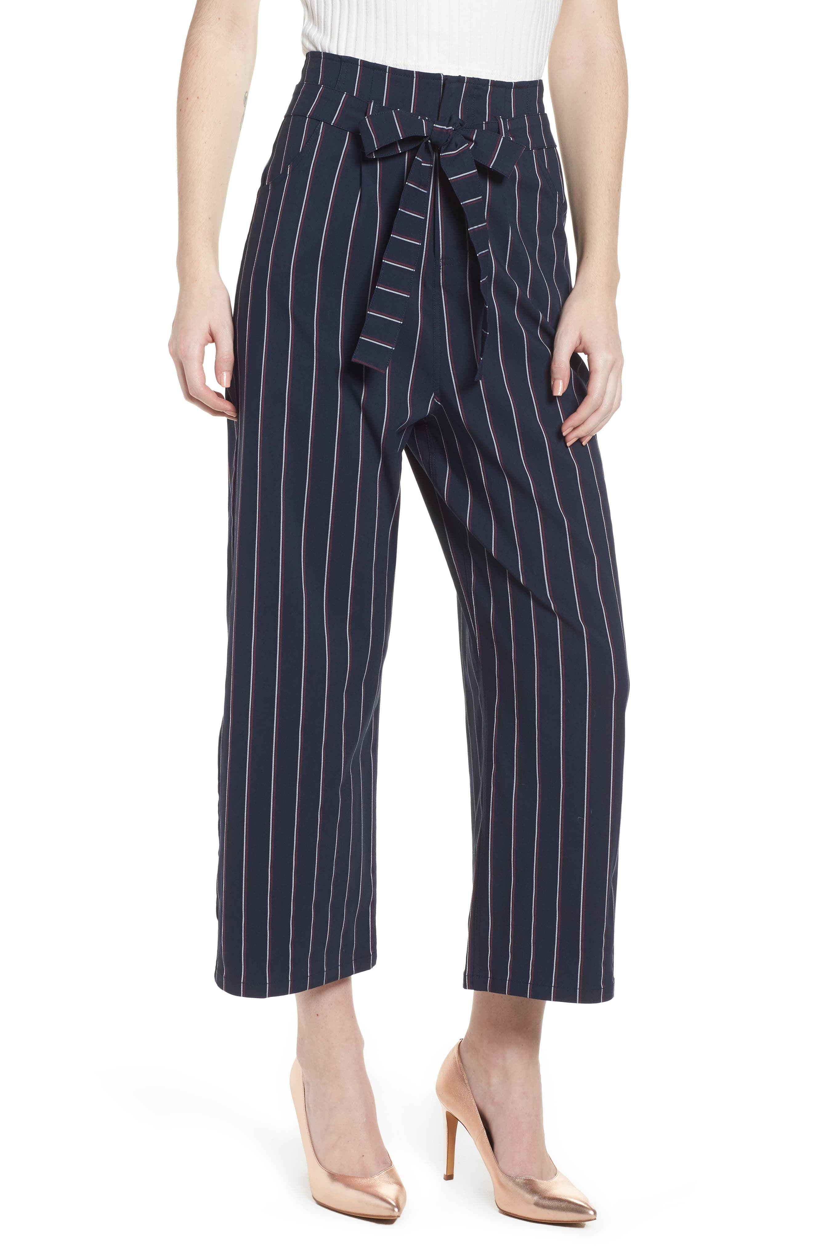 Tie Waist Crop Trousers,                             Main thumbnail 1, color,                             Navy Night Stripe