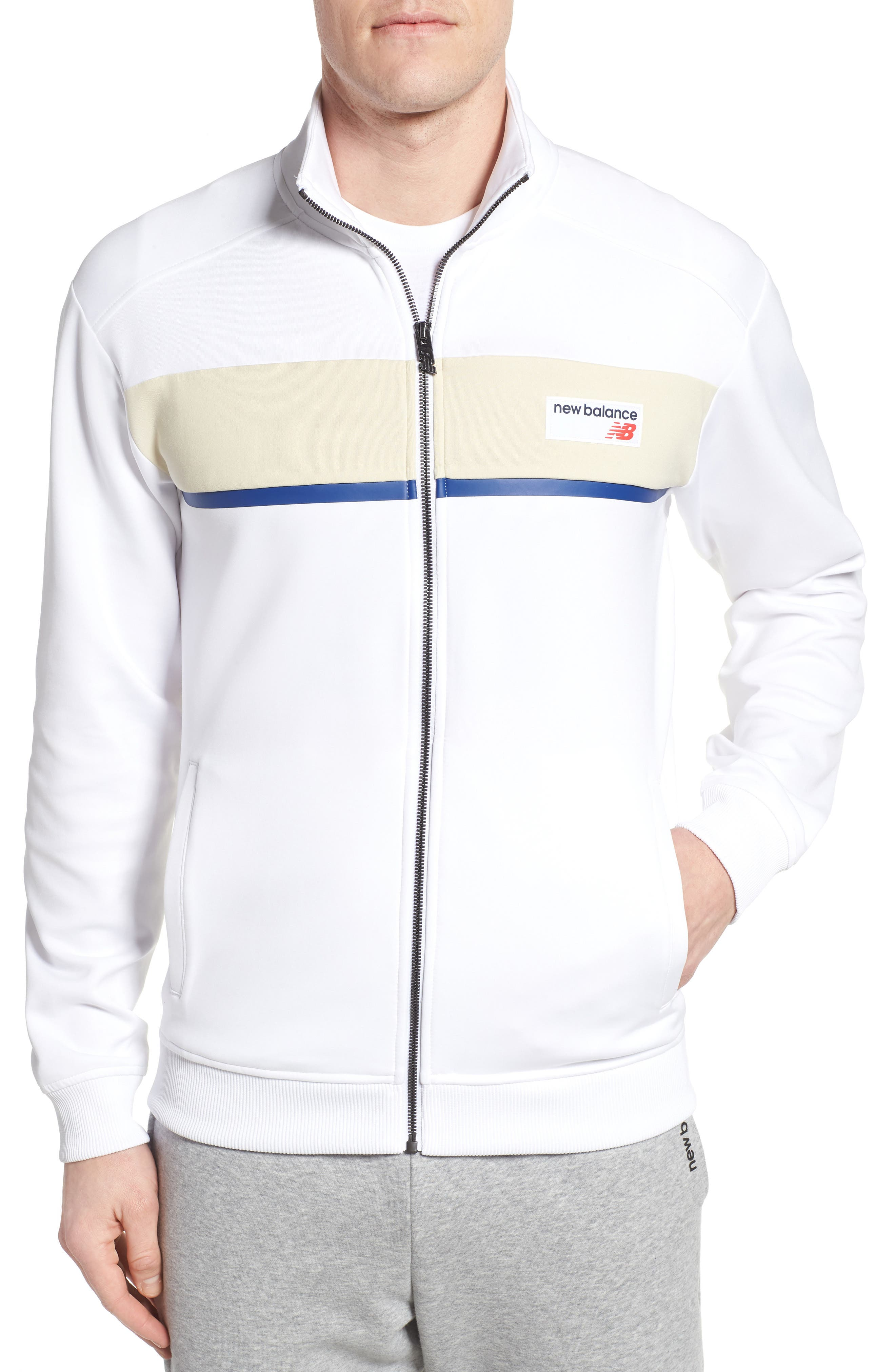 Athletics Track Jacket,                         Main,                         color, White