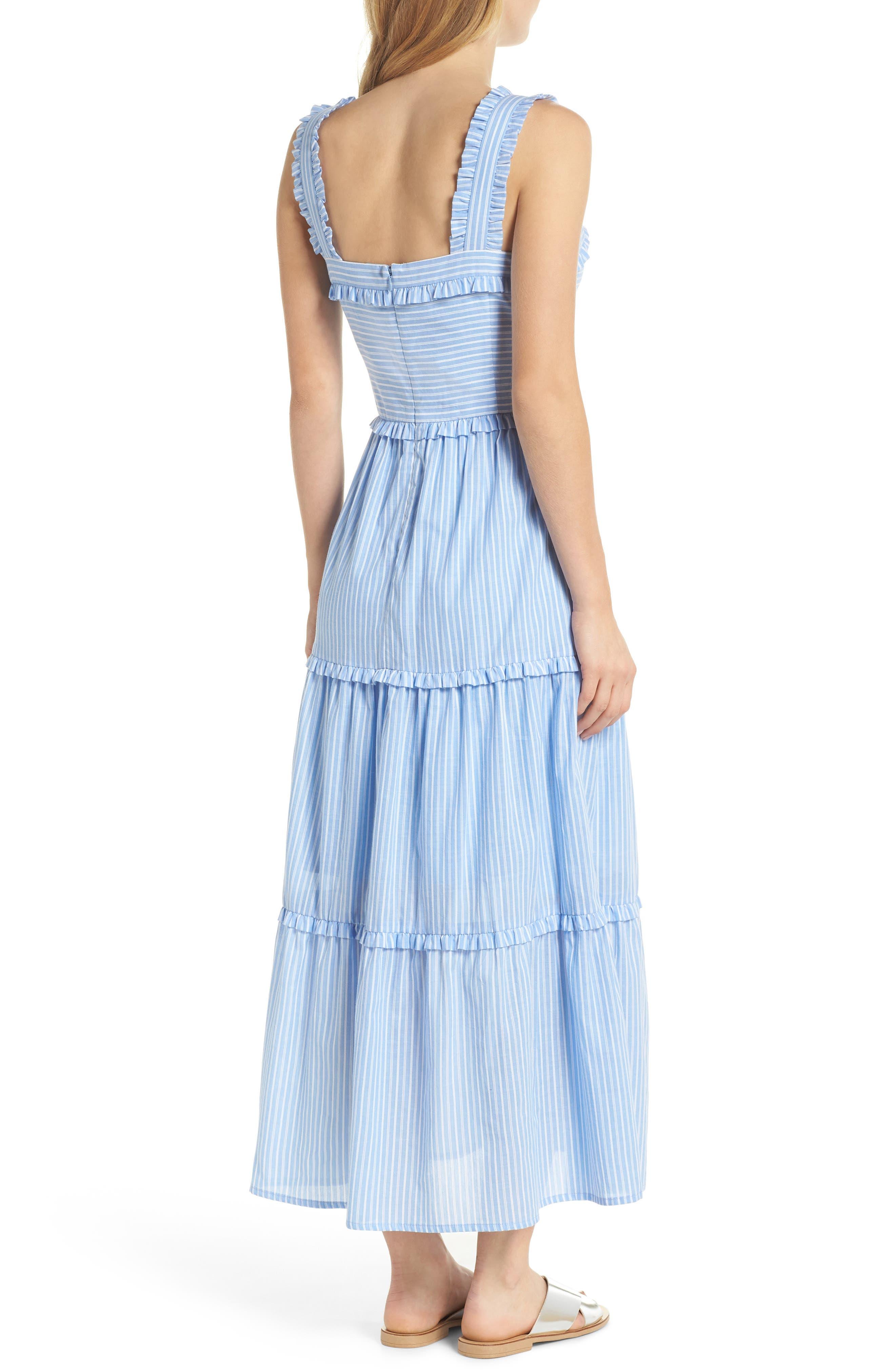Courtney Rio Stripe Lawn Maxi Dress,                             Alternate thumbnail 3, color,                             Blue/ White