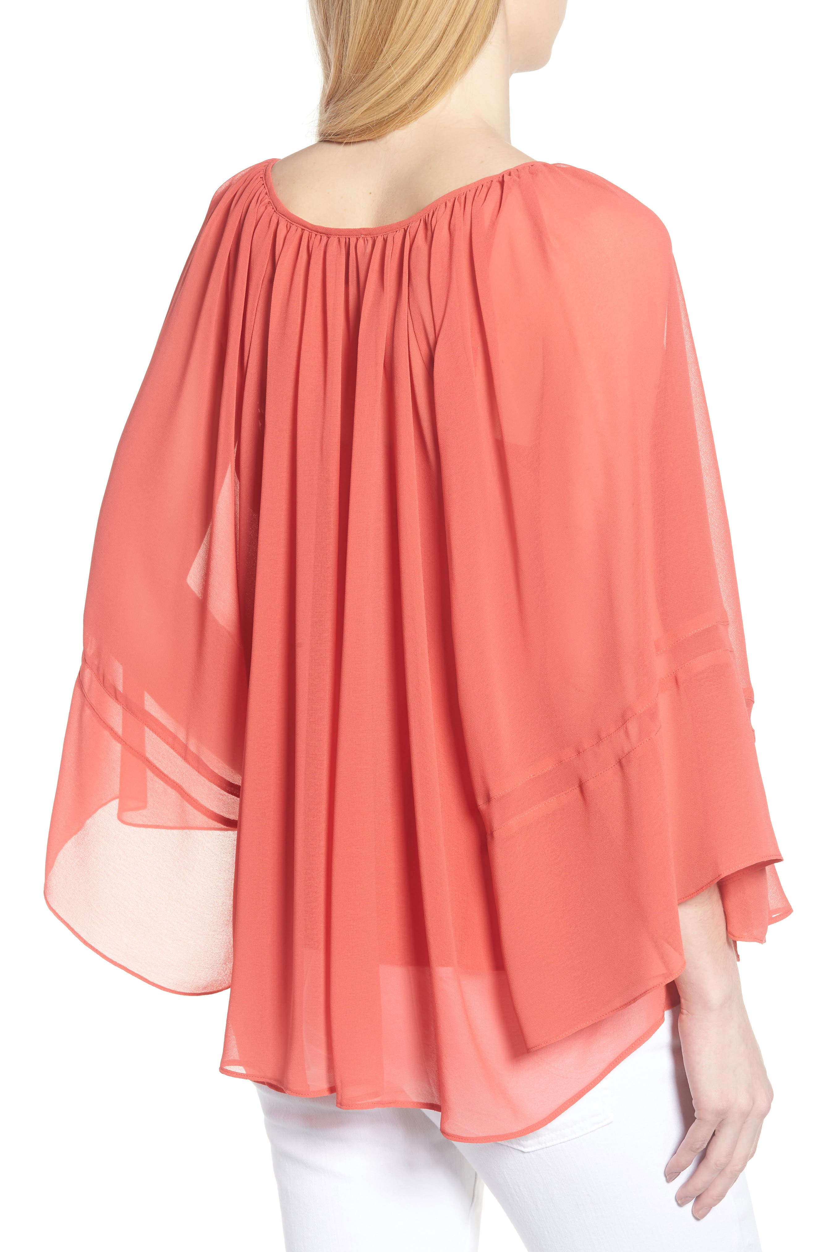 Flowy Chiffon Top,                             Alternate thumbnail 2, color,                             Red Cranberry