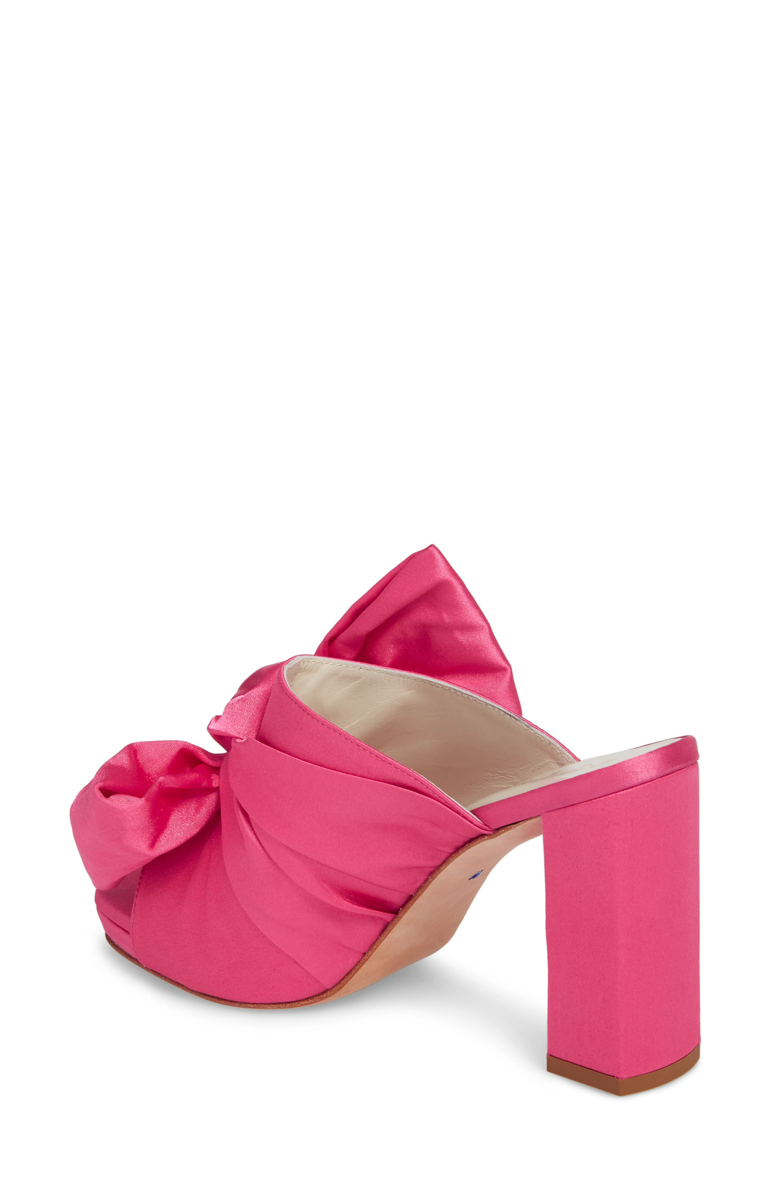 Elisa Knotted Bow Mule,                             Alternate thumbnail 2, color,                             Hot Pink Satin