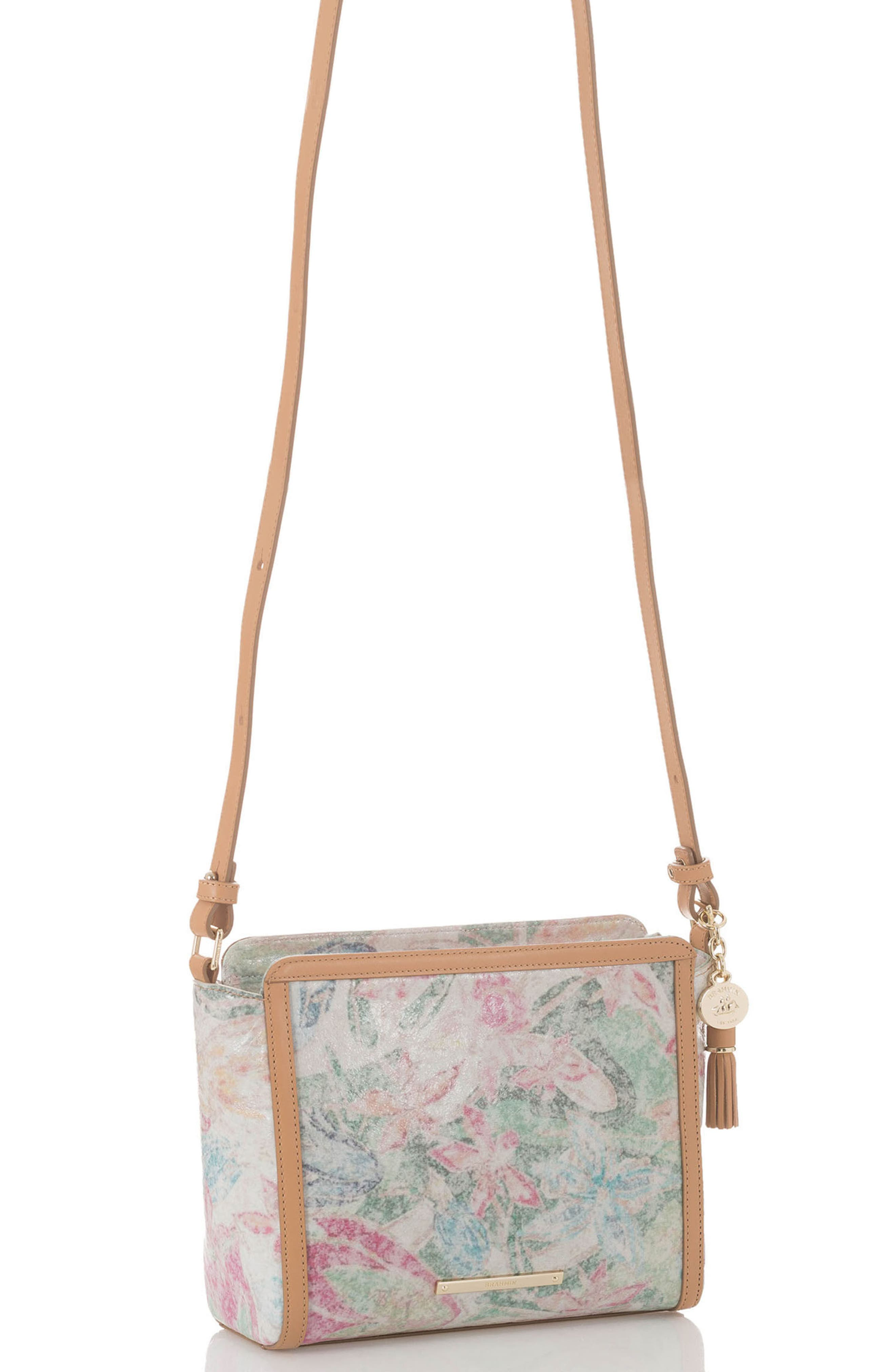 Floral Carrie Leather Crossbody Bag,                             Alternate thumbnail 4, color,                             Creme