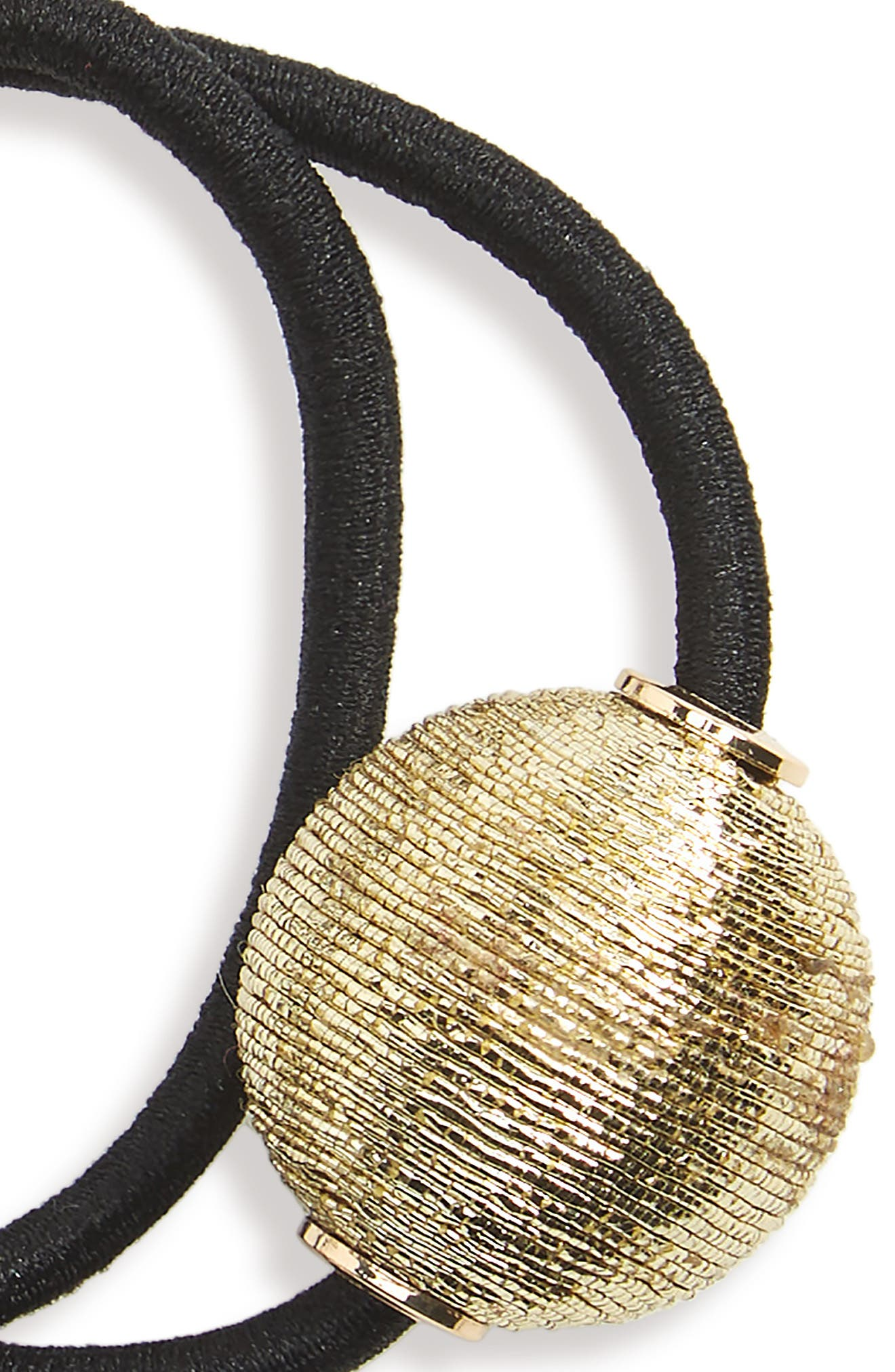Pearly Bead Double Ponytail Holder,                             Alternate thumbnail 2, color,                             Gold