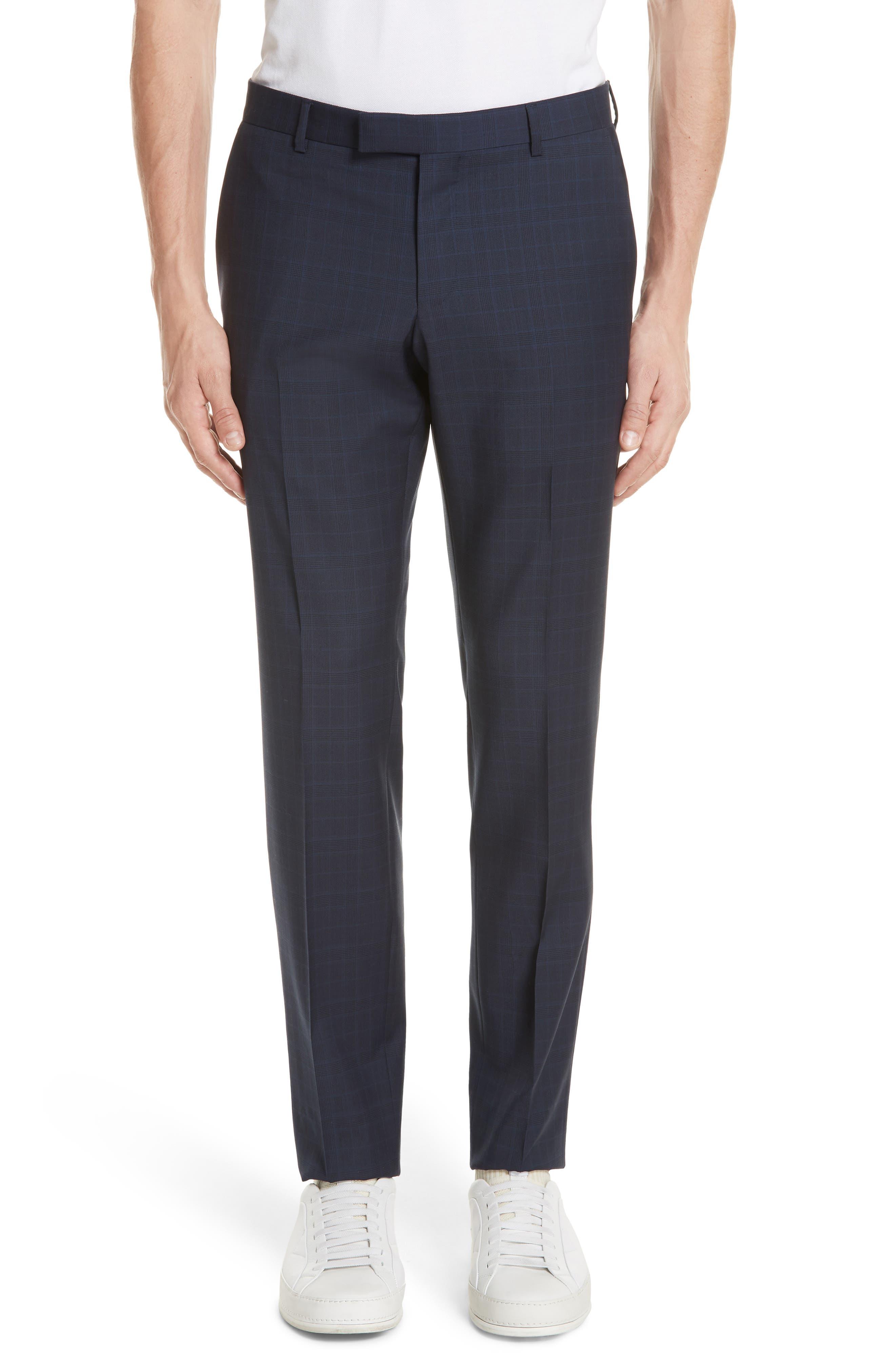 Trim Fit Plaid Wool Suit,                             Alternate thumbnail 6, color,                             Navy Check
