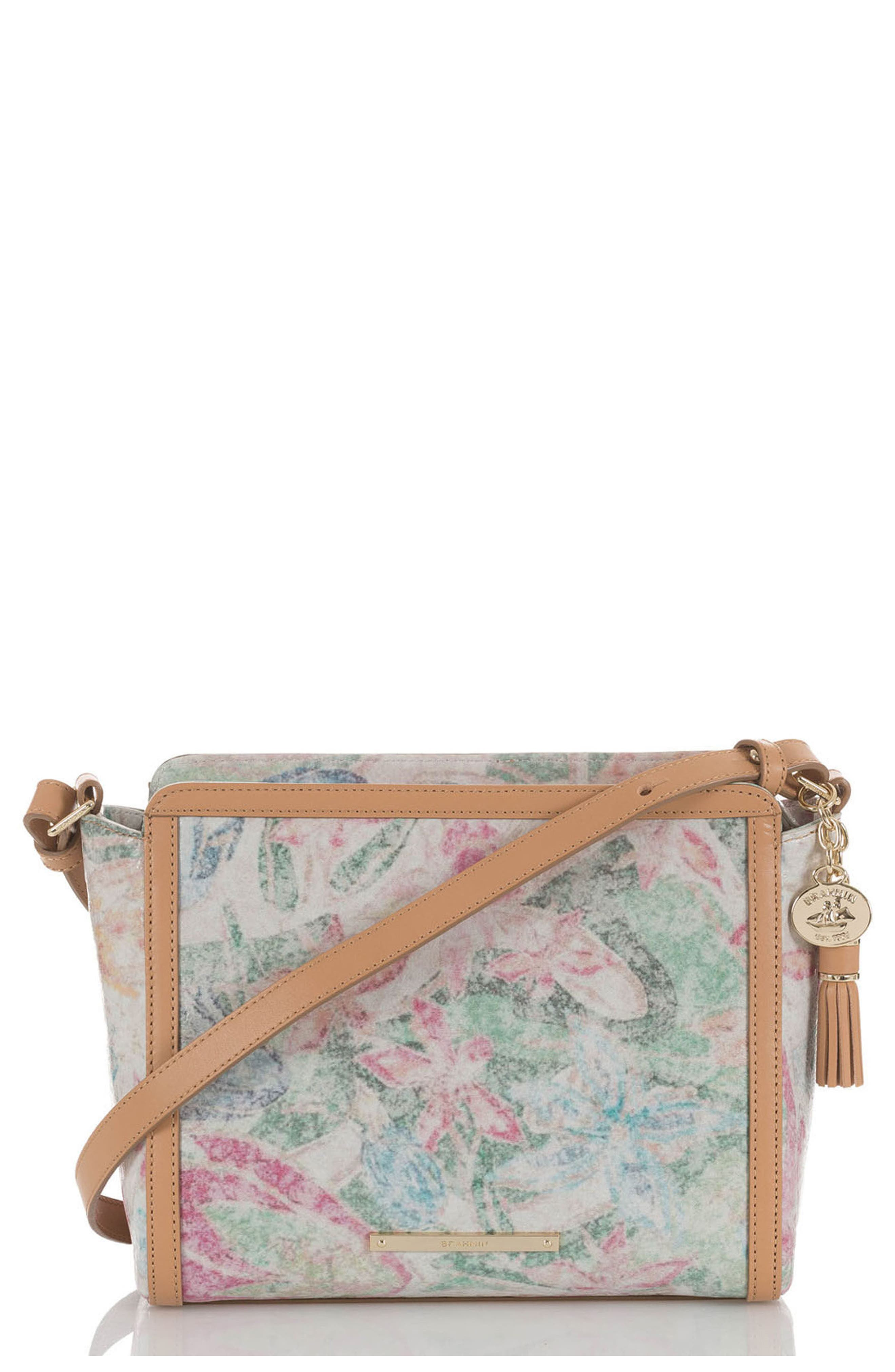 Floral Carrie Leather Crossbody Bag,                         Main,                         color, Creme