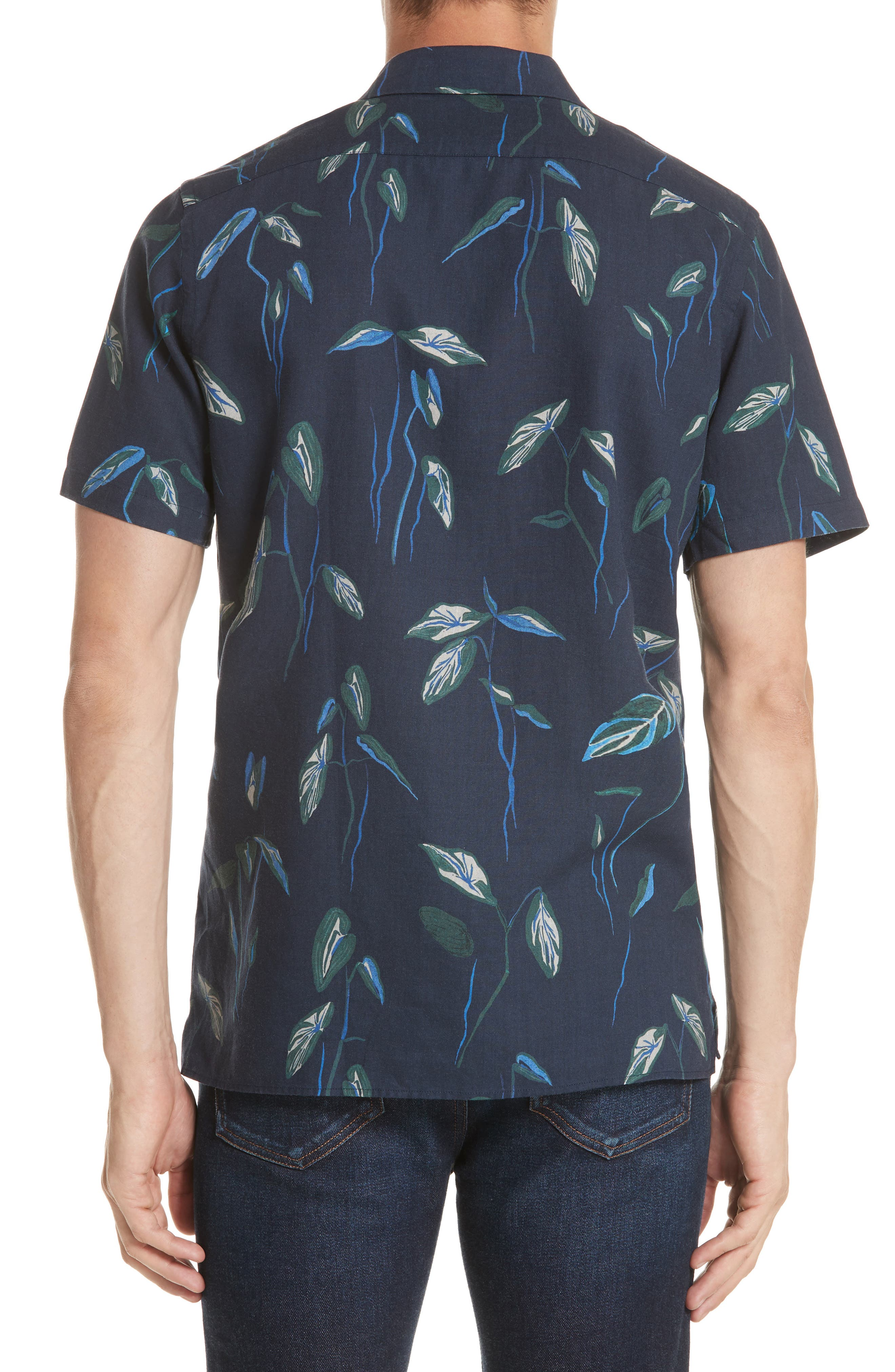 Botanical Print Shirt,                             Alternate thumbnail 3, color,                             Navy