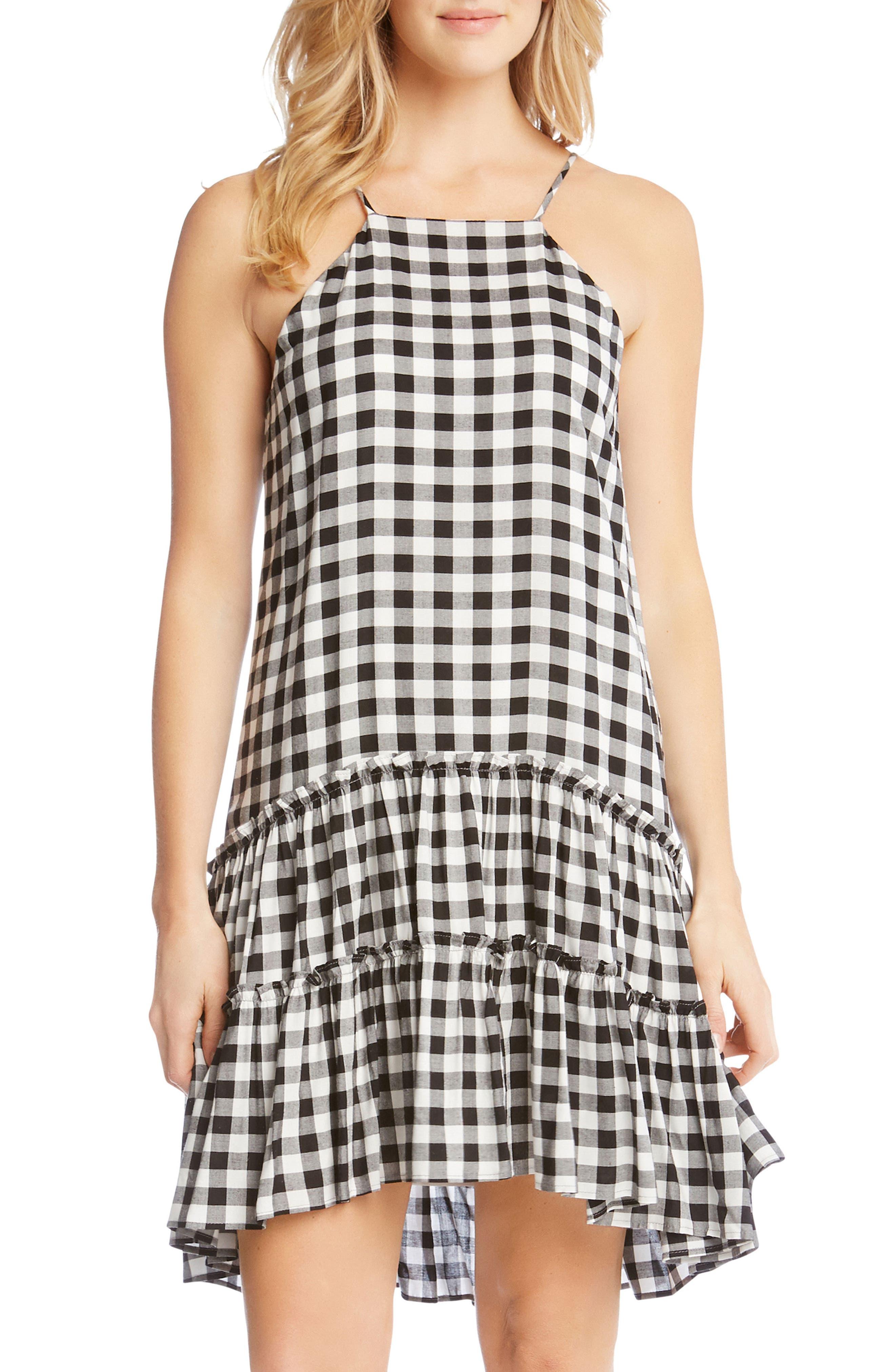 Gingham Ruffle Hem Halter Top Dress,                             Alternate thumbnail 4, color,                             Check