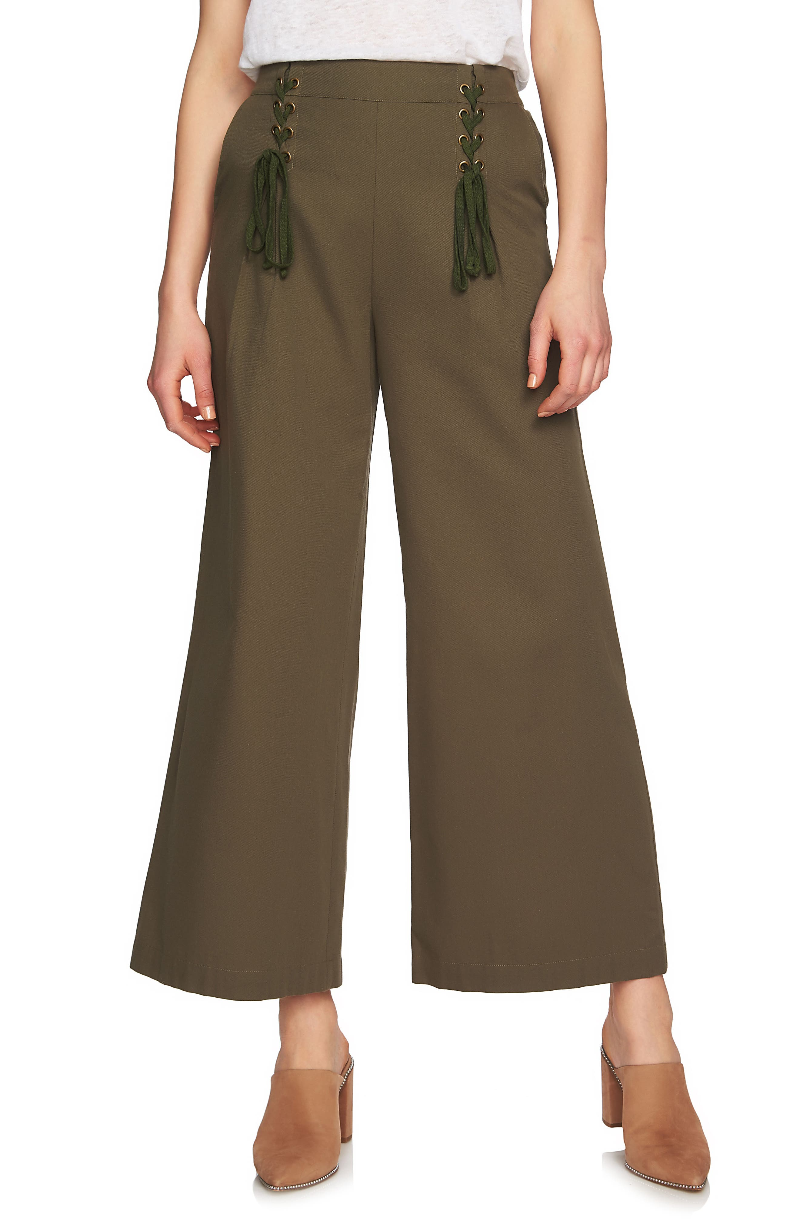 Lace-Up Detail Wide Leg Pants,                             Main thumbnail 1, color,                             Olive Tree